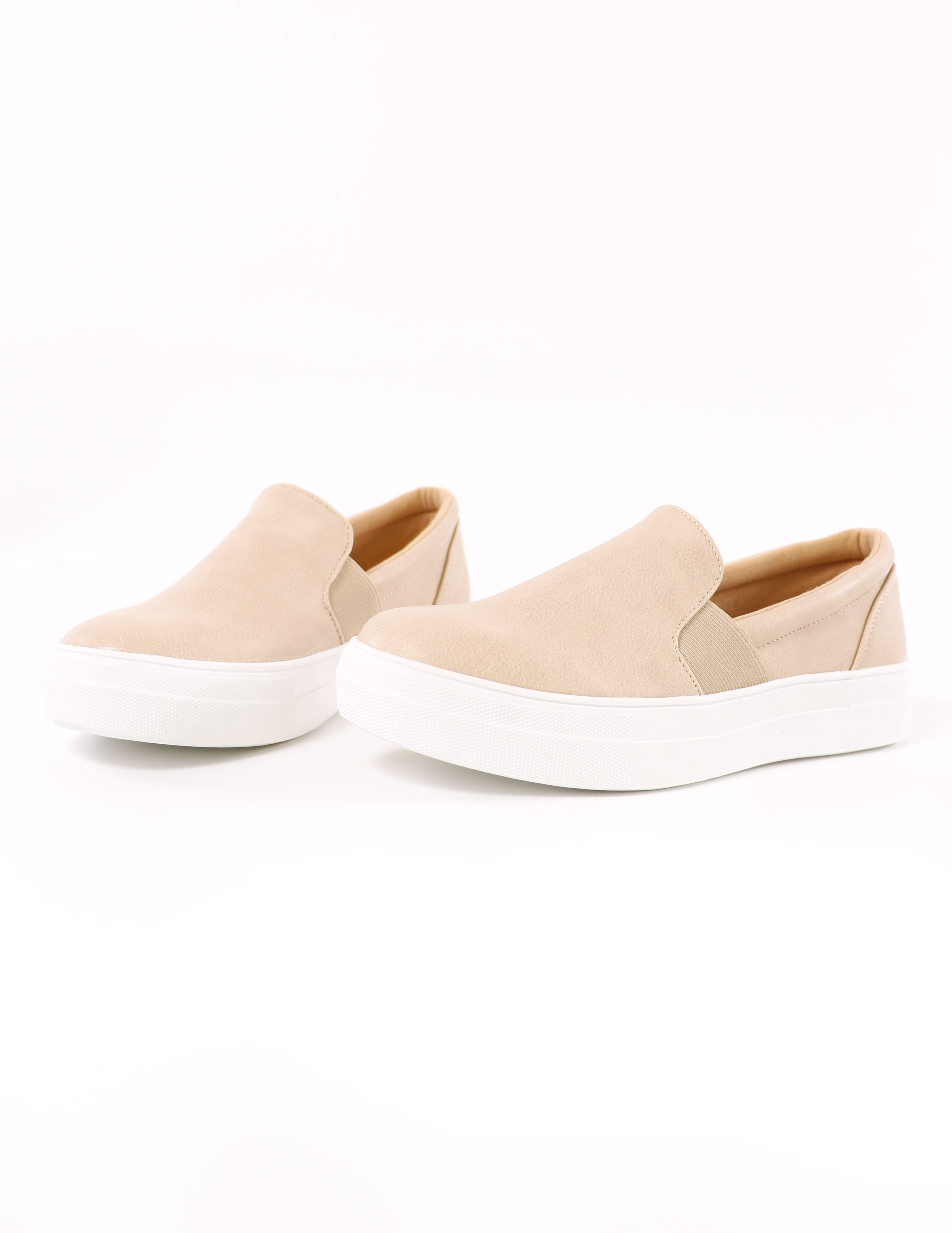 natural kickin' it sole-o sneakers on white background - elle bleu shoes