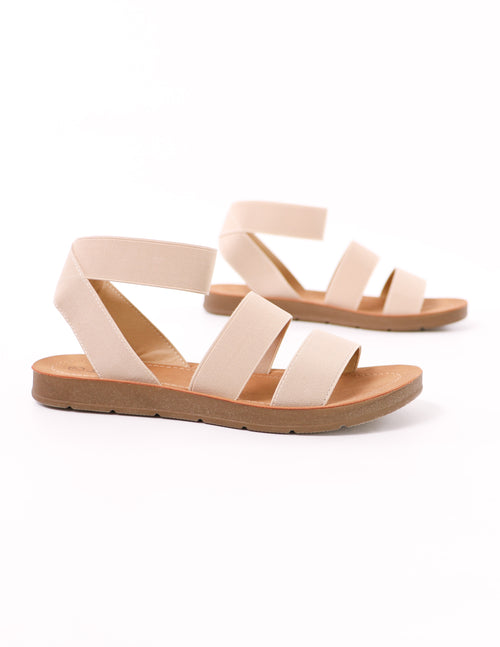 close up of the natural cabana soda elastic sandal - elle bleu