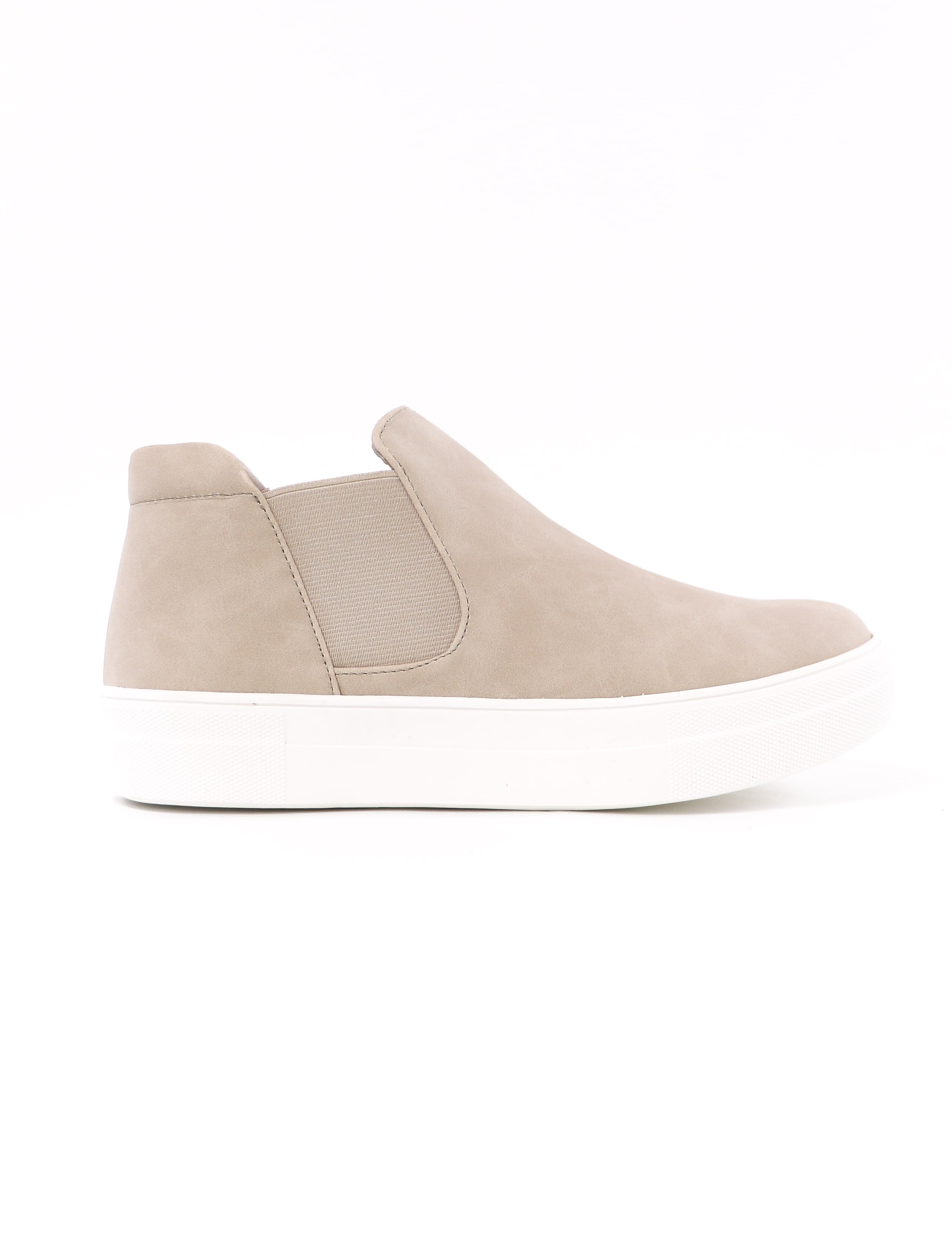 white rubber sole and elastic gore on the sand now or never platform sneaker - elle bleu shoes