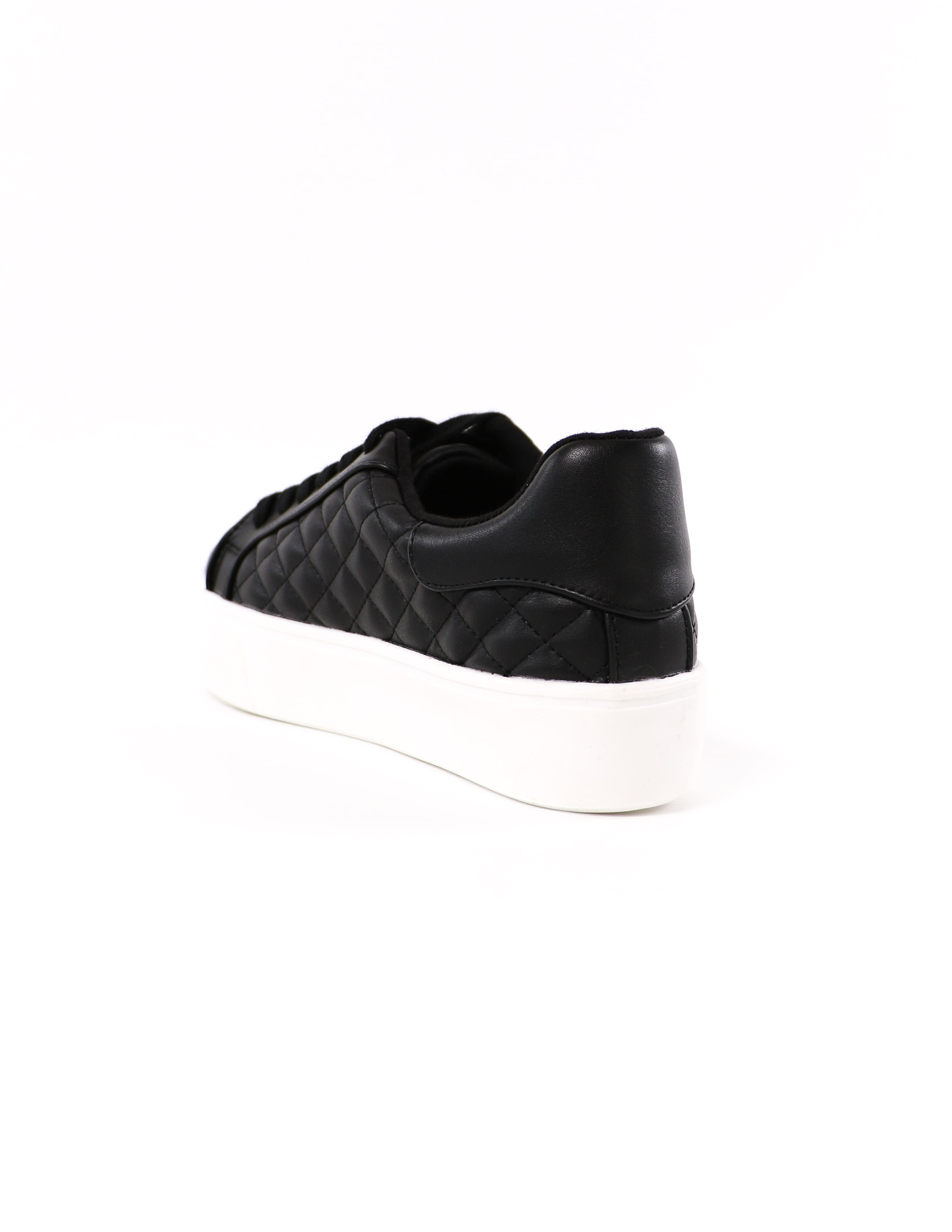 back of the quilt messin' around black sneaker with white sole - elle bleu shoes