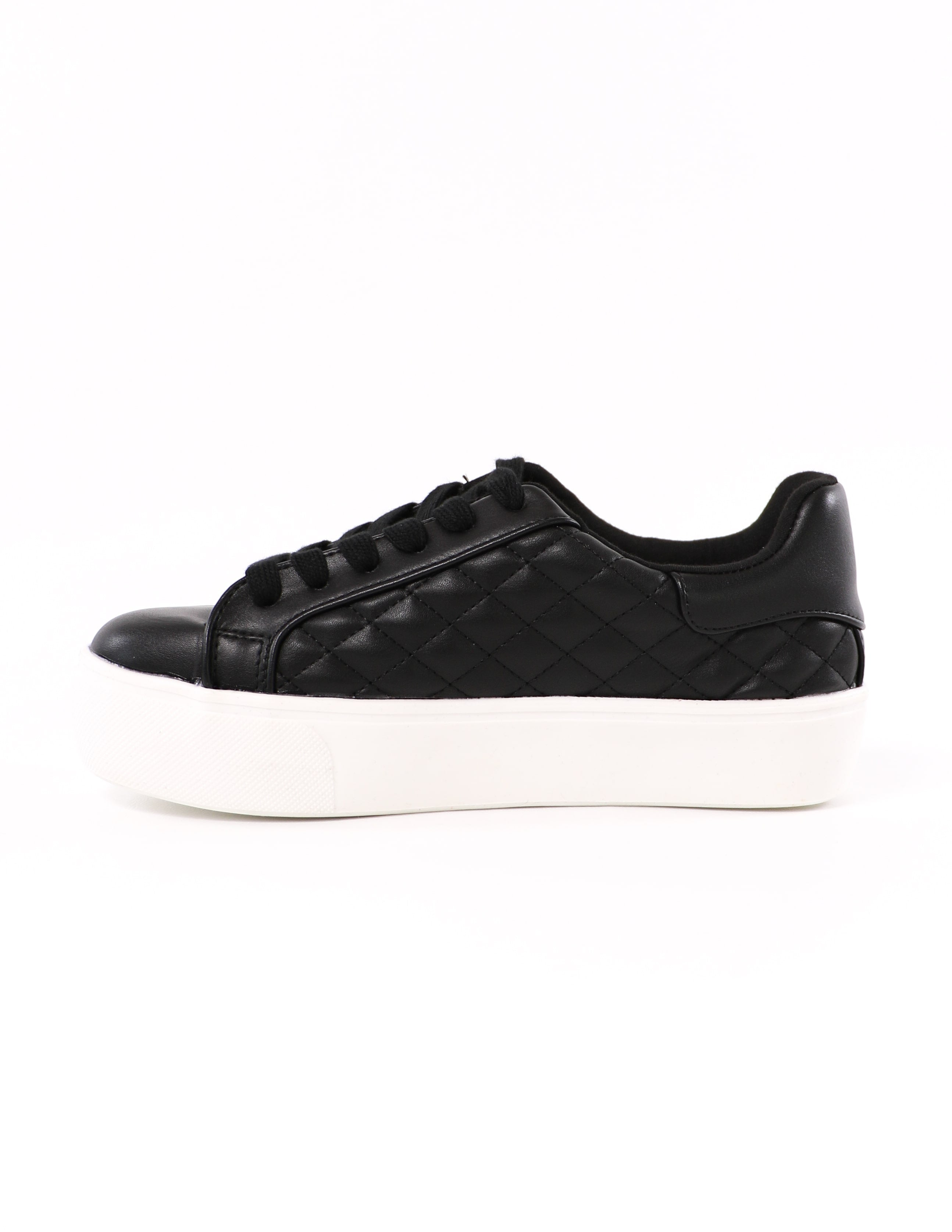 side of the quilt messin' around soda black quilted sneaker - elle bleu shoes