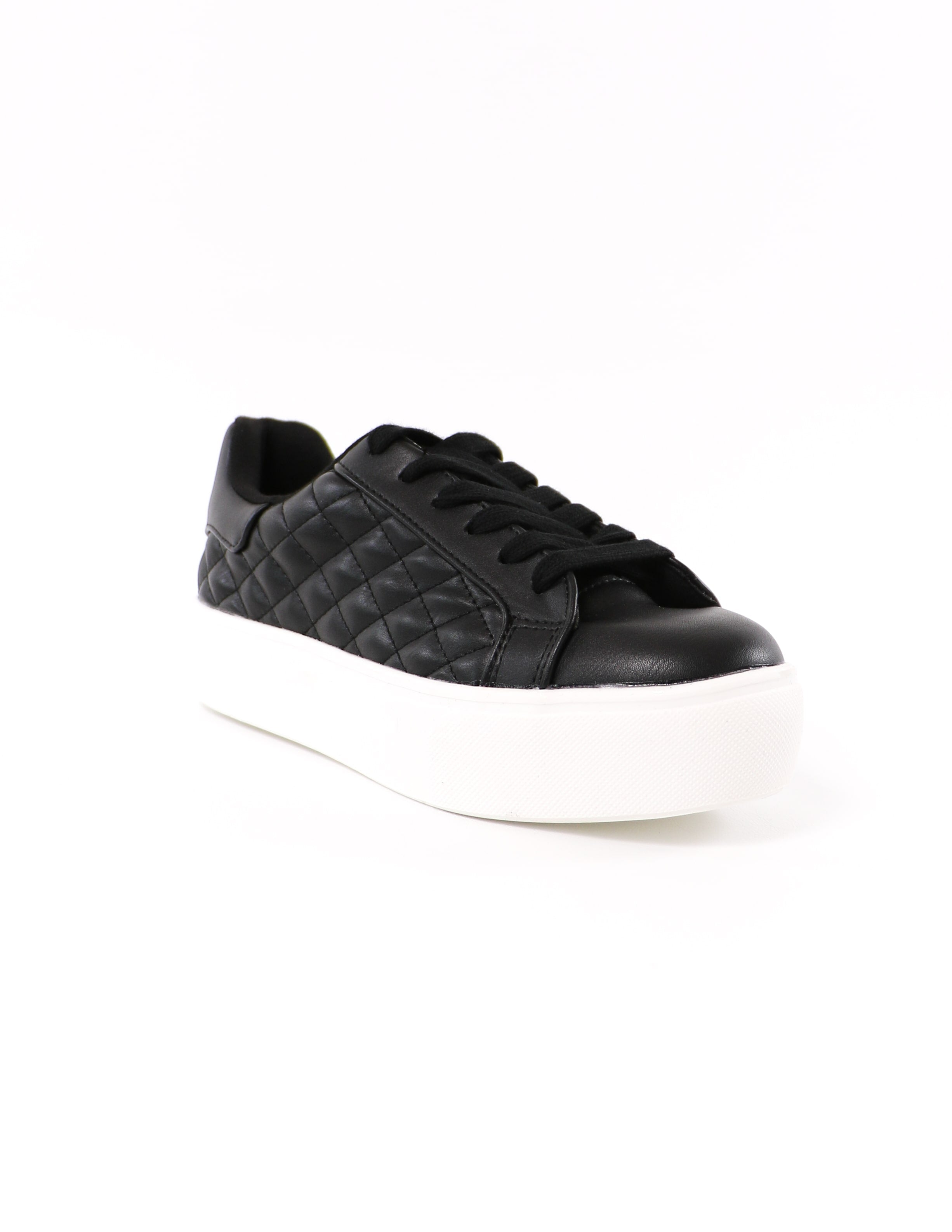 black quilt messin' around sneaker with black laces and white rubber sole - elle bleu shoes