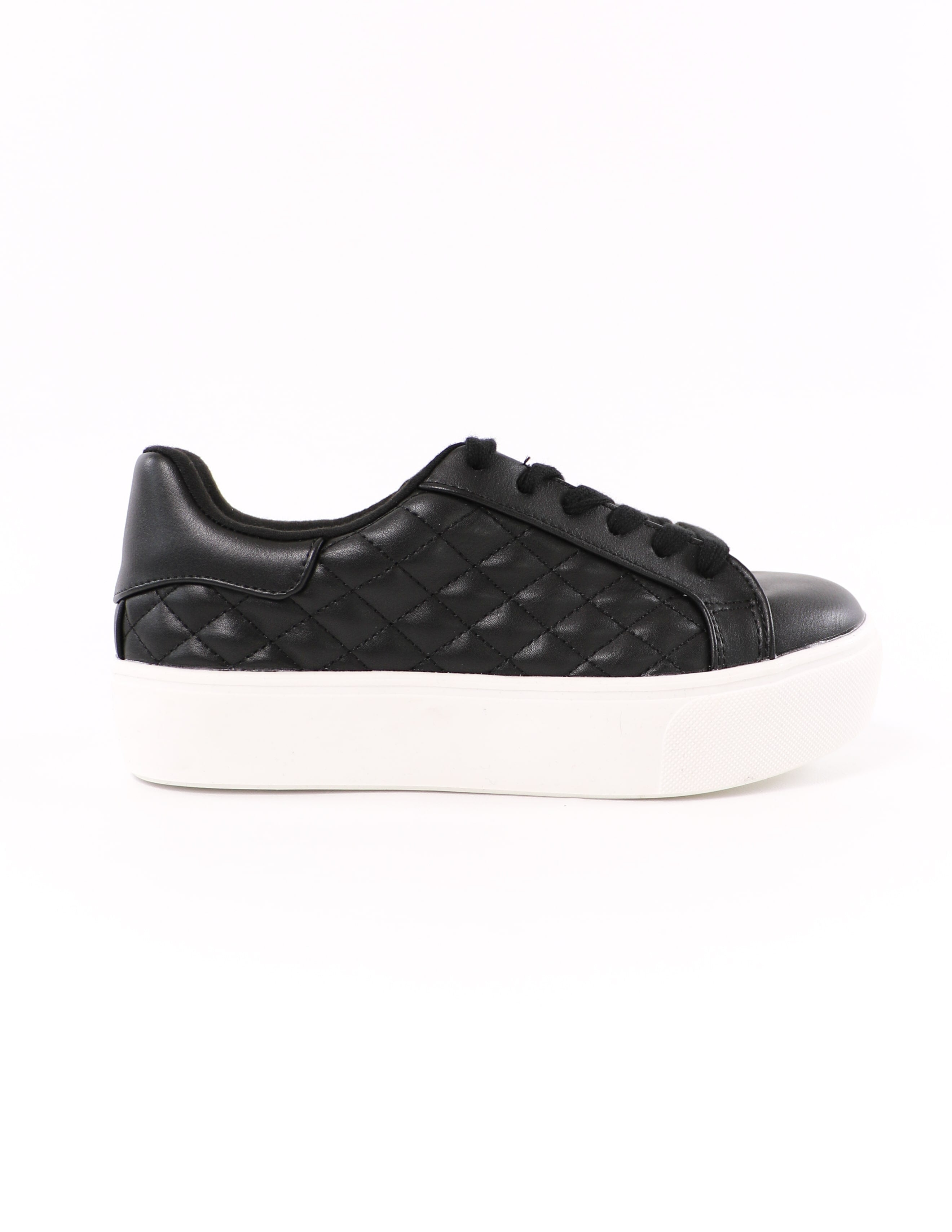 side of the black quilted quilt messin' around soda platform sneaker - elle bleu shoes