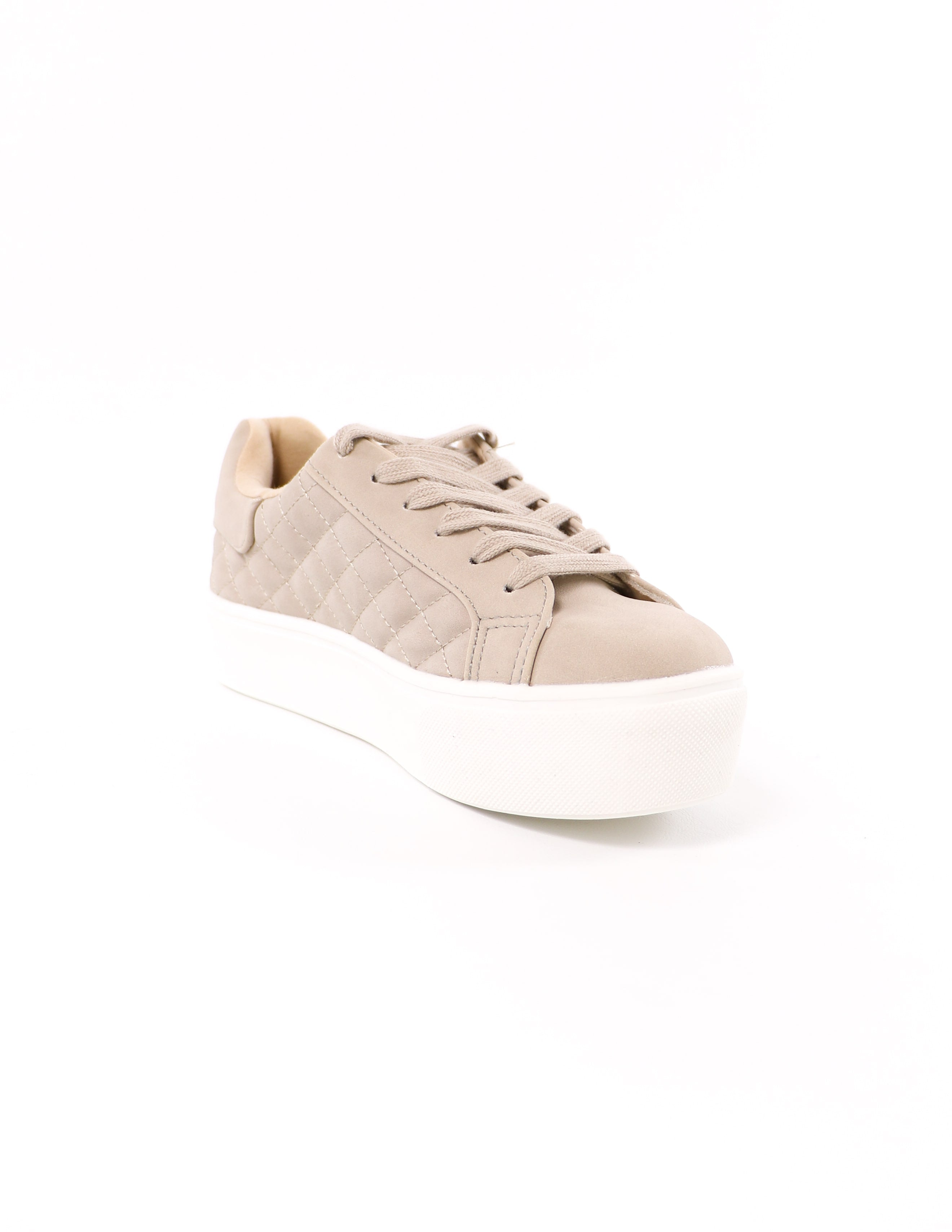 front of the sand taupe quilt messin' around soda platform sneaker - elle bleu shoes