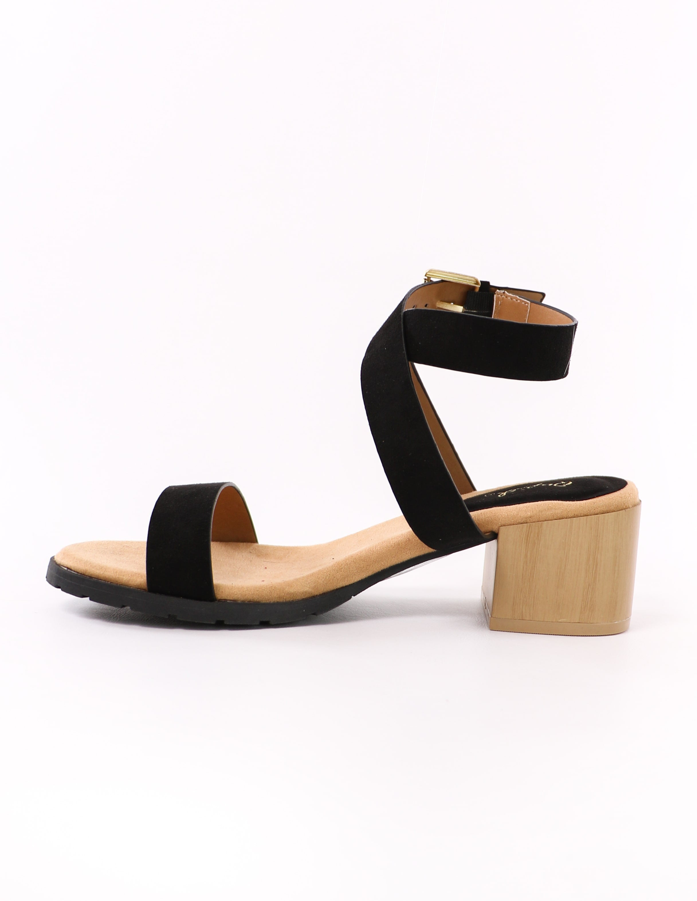 side of the black strappy wrap out of it qupid heel with light faux wood block heel - elle bleu