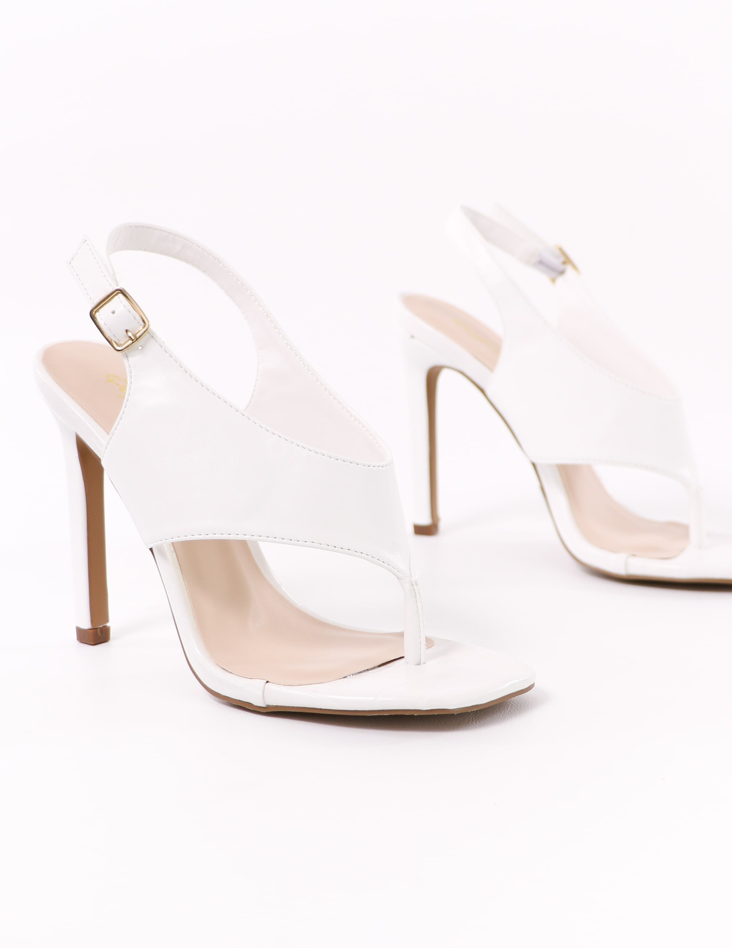 white club can't sandal me stiletto heel on white background - elle bleu shoes