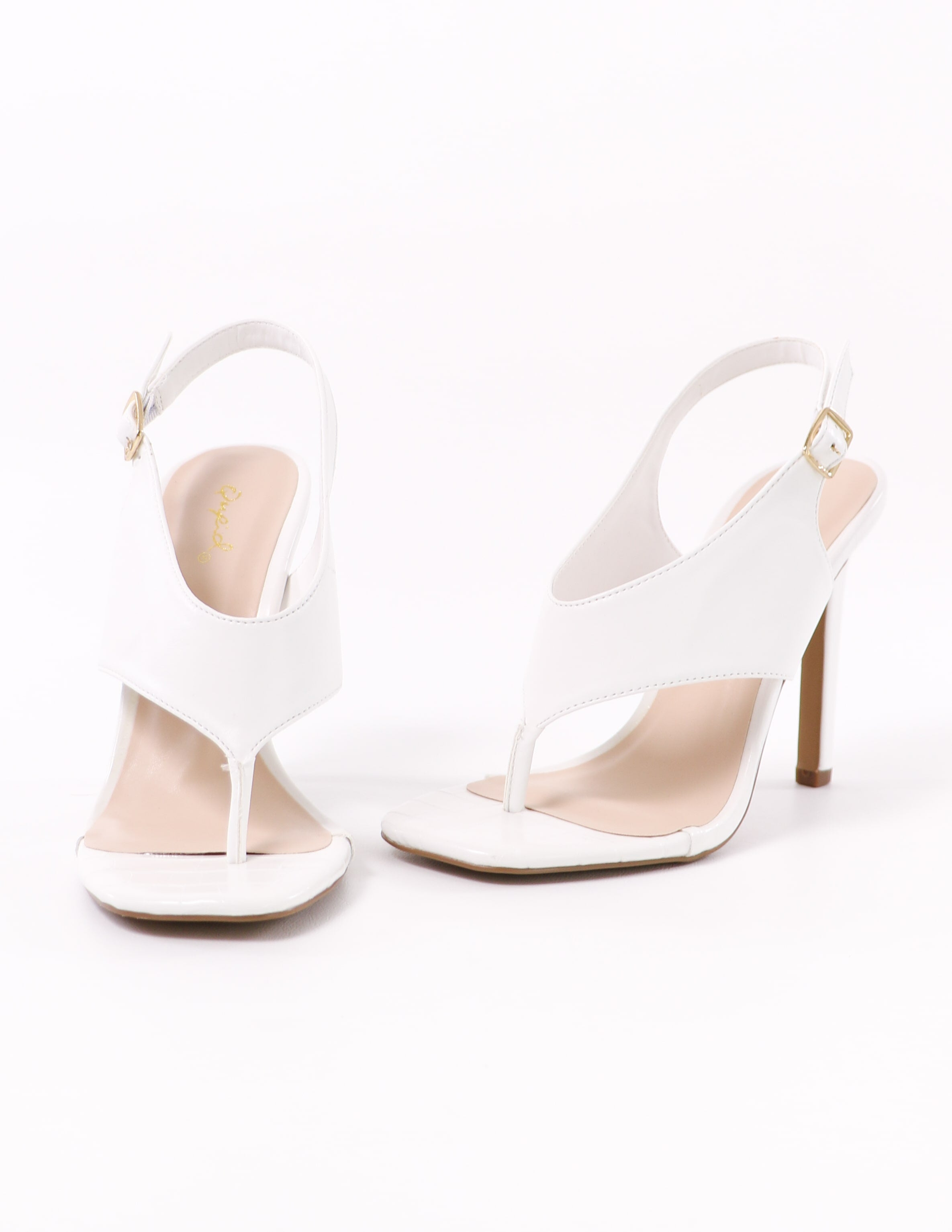 white club can't sandal me heel with vegan leather upper - elle bleu shoes