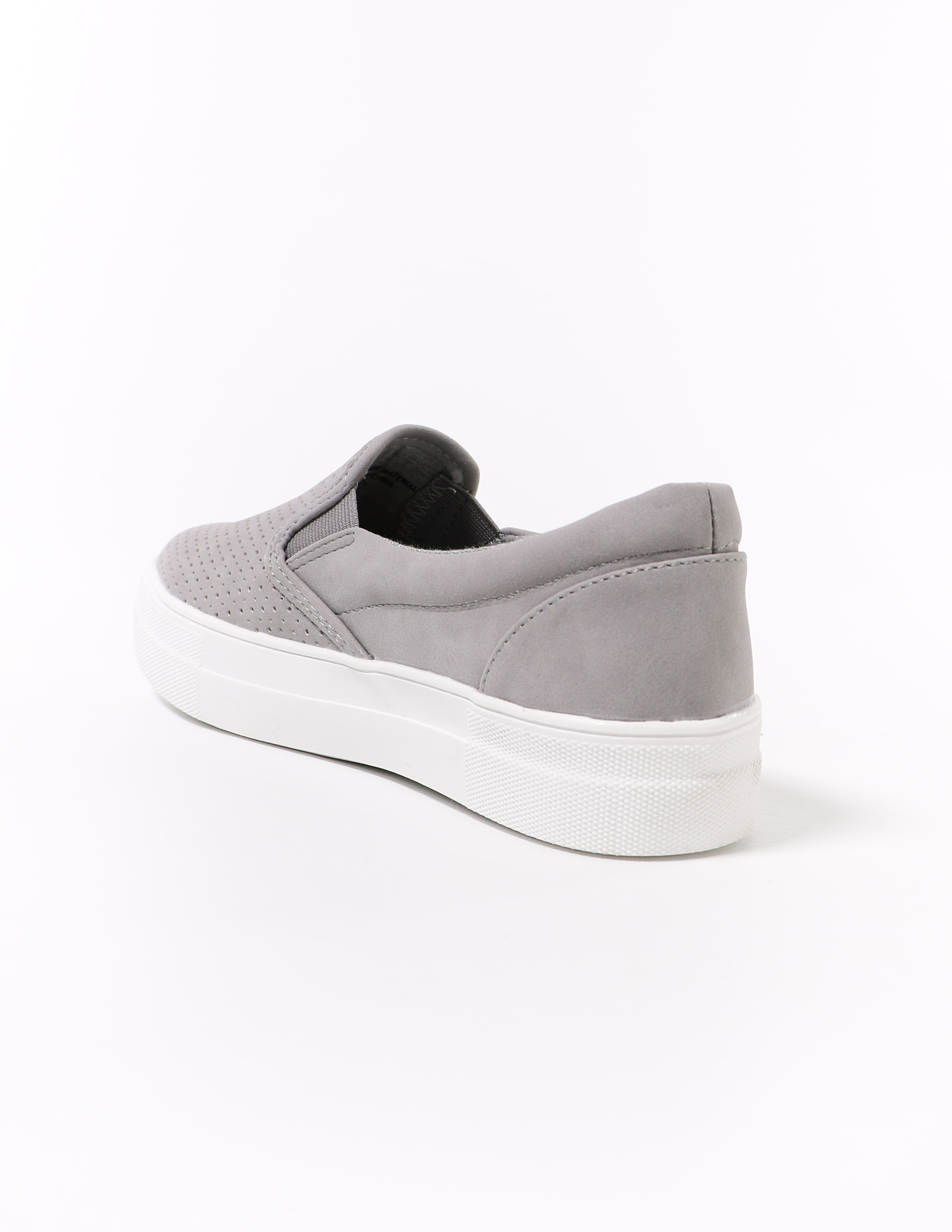 grey perf every penny soda sneaker on white background