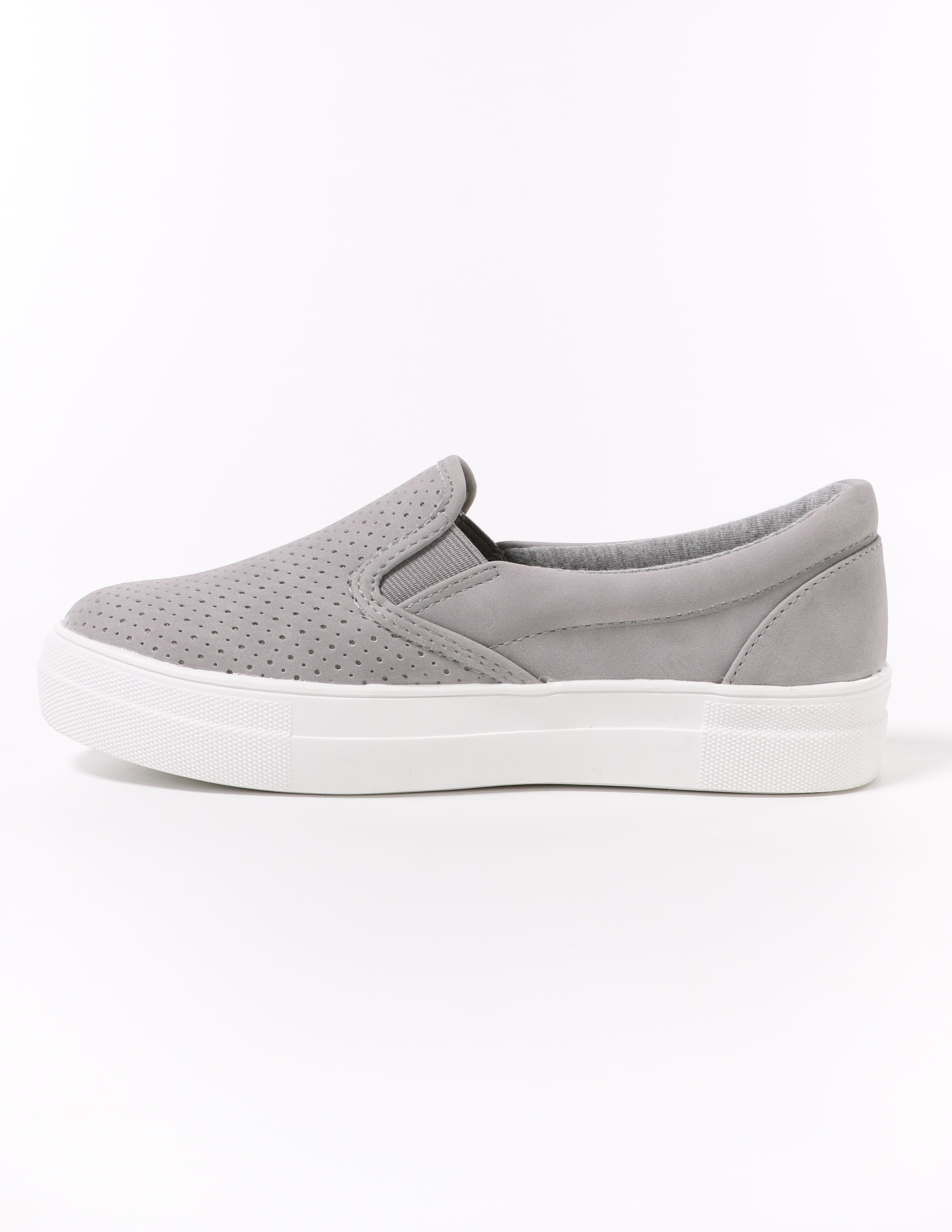 soda platform perf every penny grey sneaker with white sole