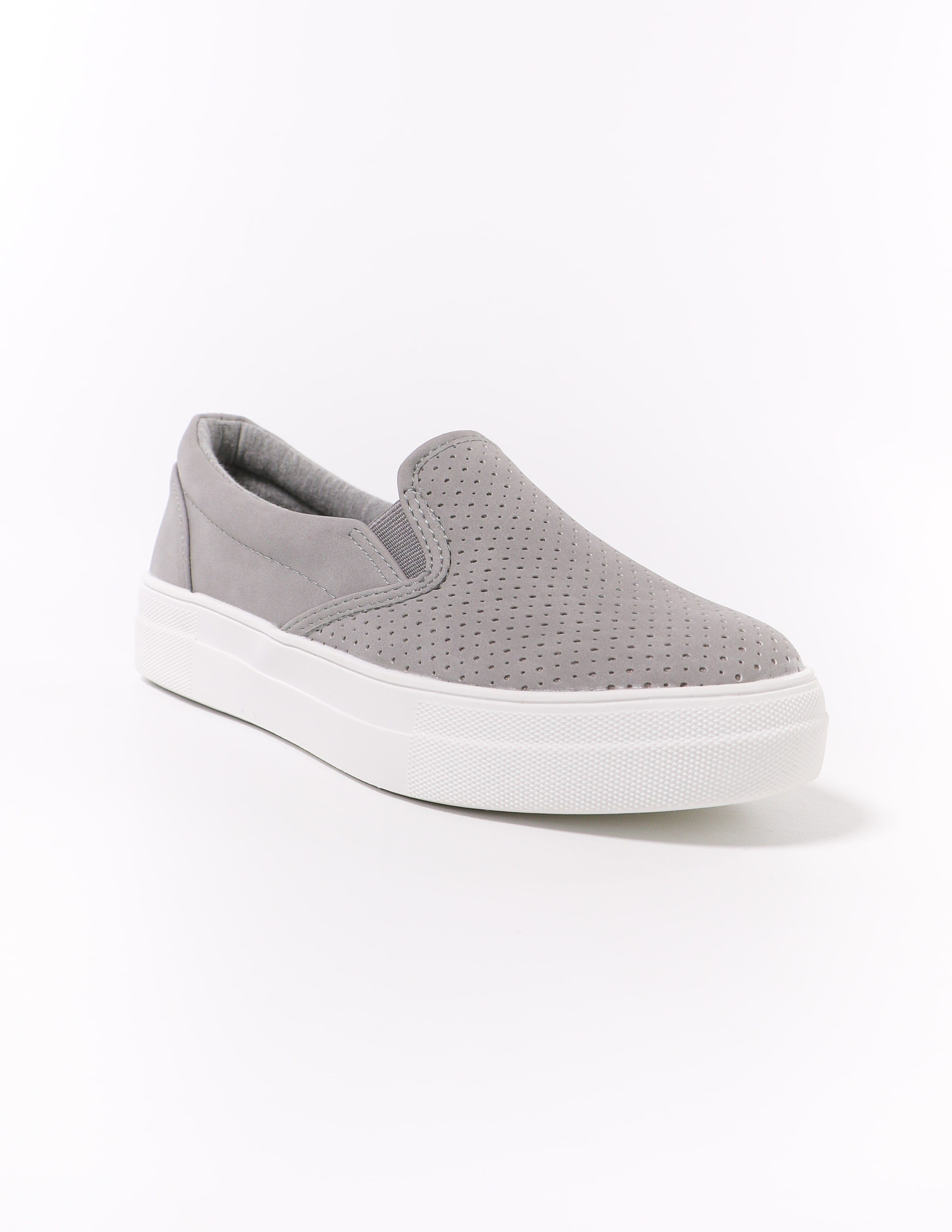 white bottom perforated grey perf every penny sneaker - elle bleu