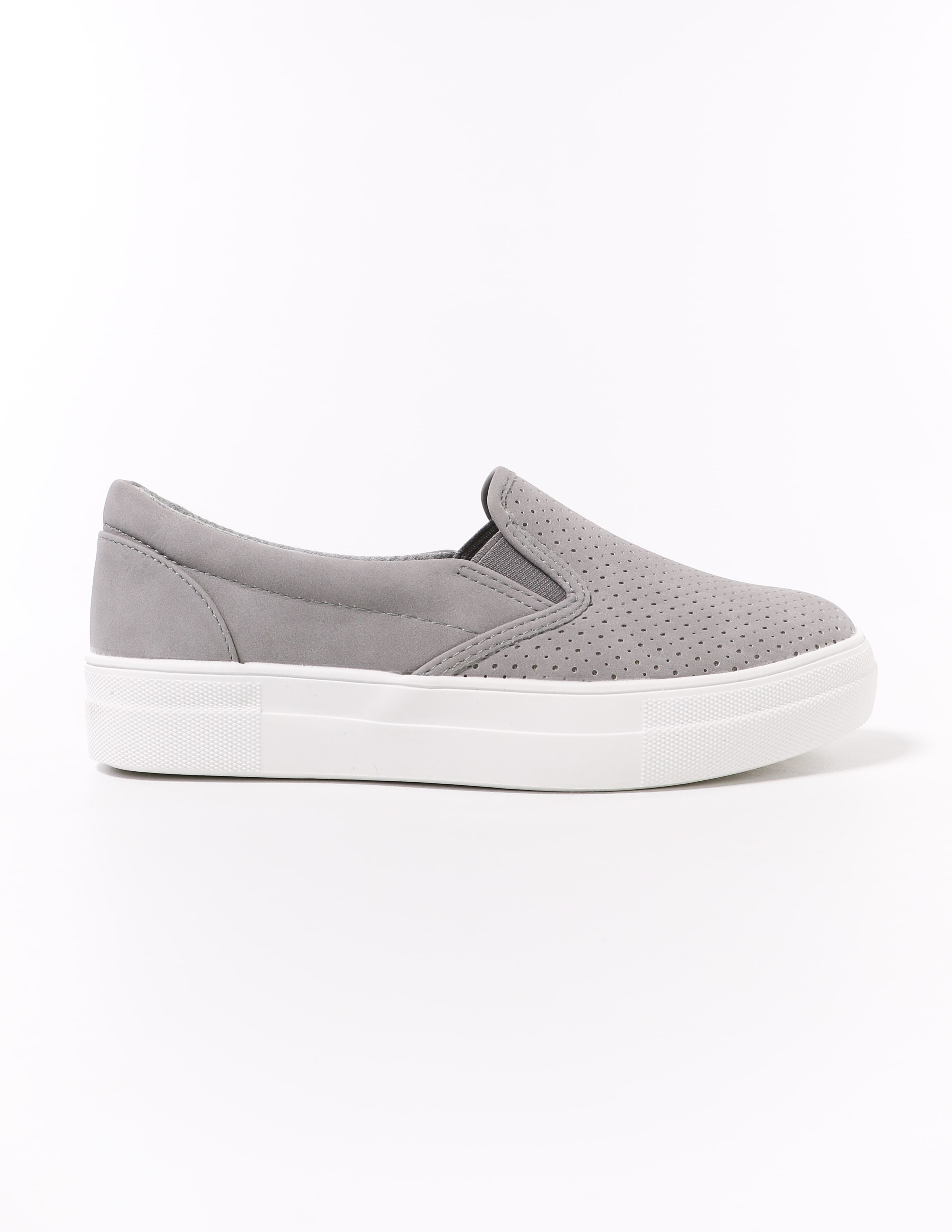 side of the grey perf every penny perforated sneaker - elle bleu shoes