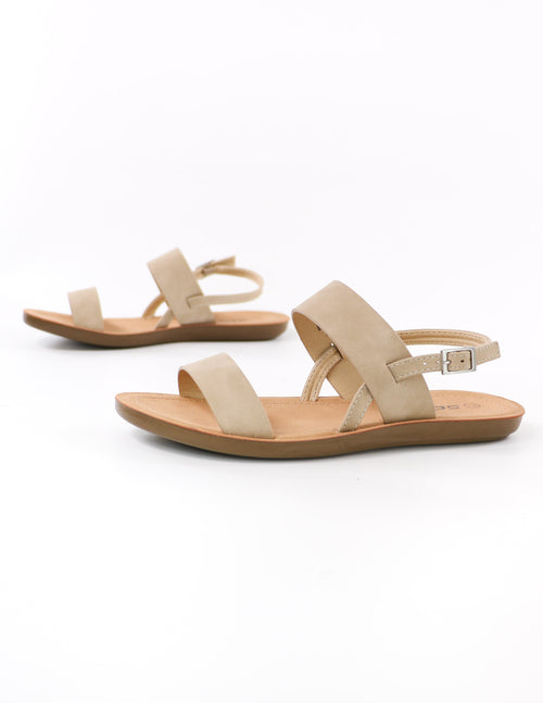close up of the taupe sand then some slingback strappy sandals - elle bleu shoes