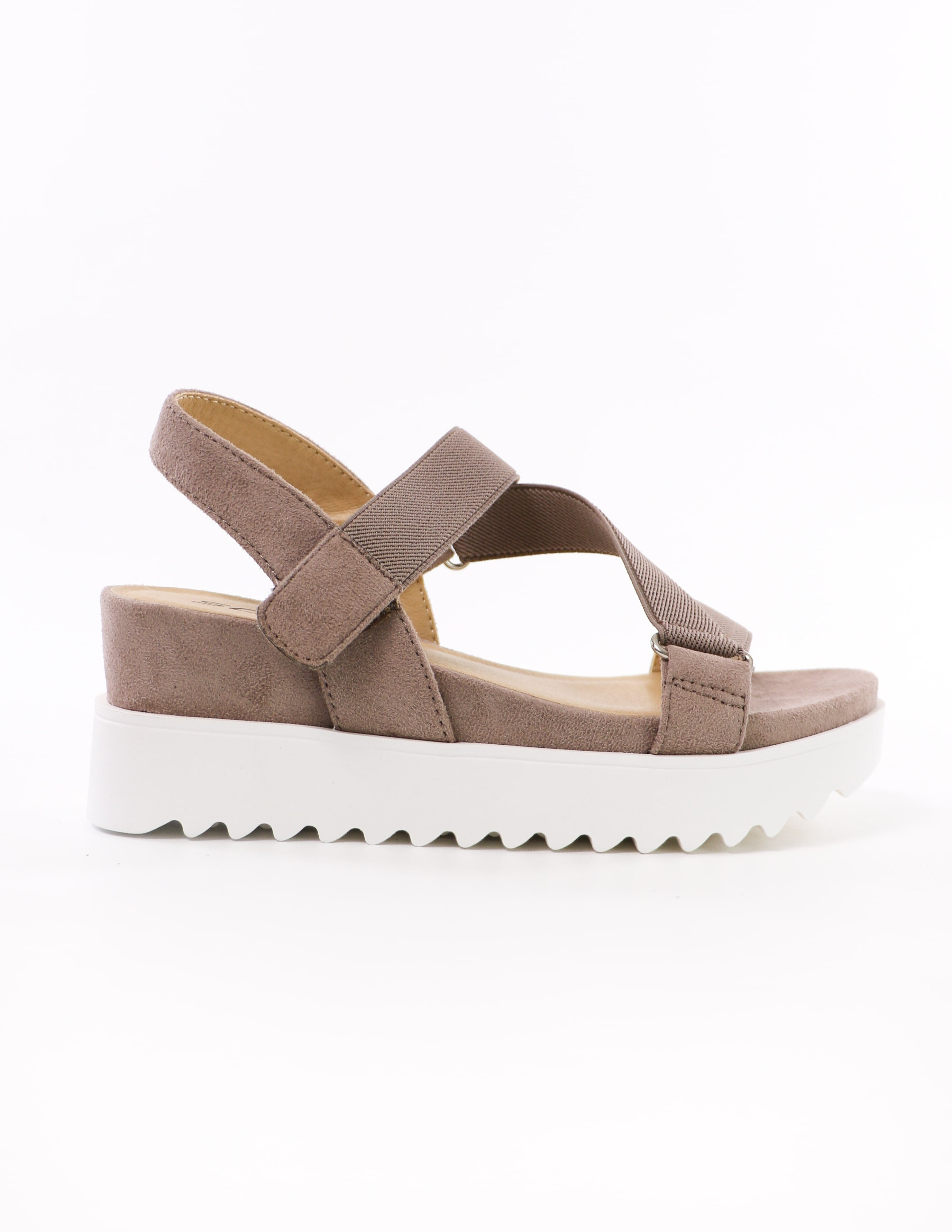 velcro strappy go lucky soda taupe platform sandals with wedge heel - elle bleu shoes