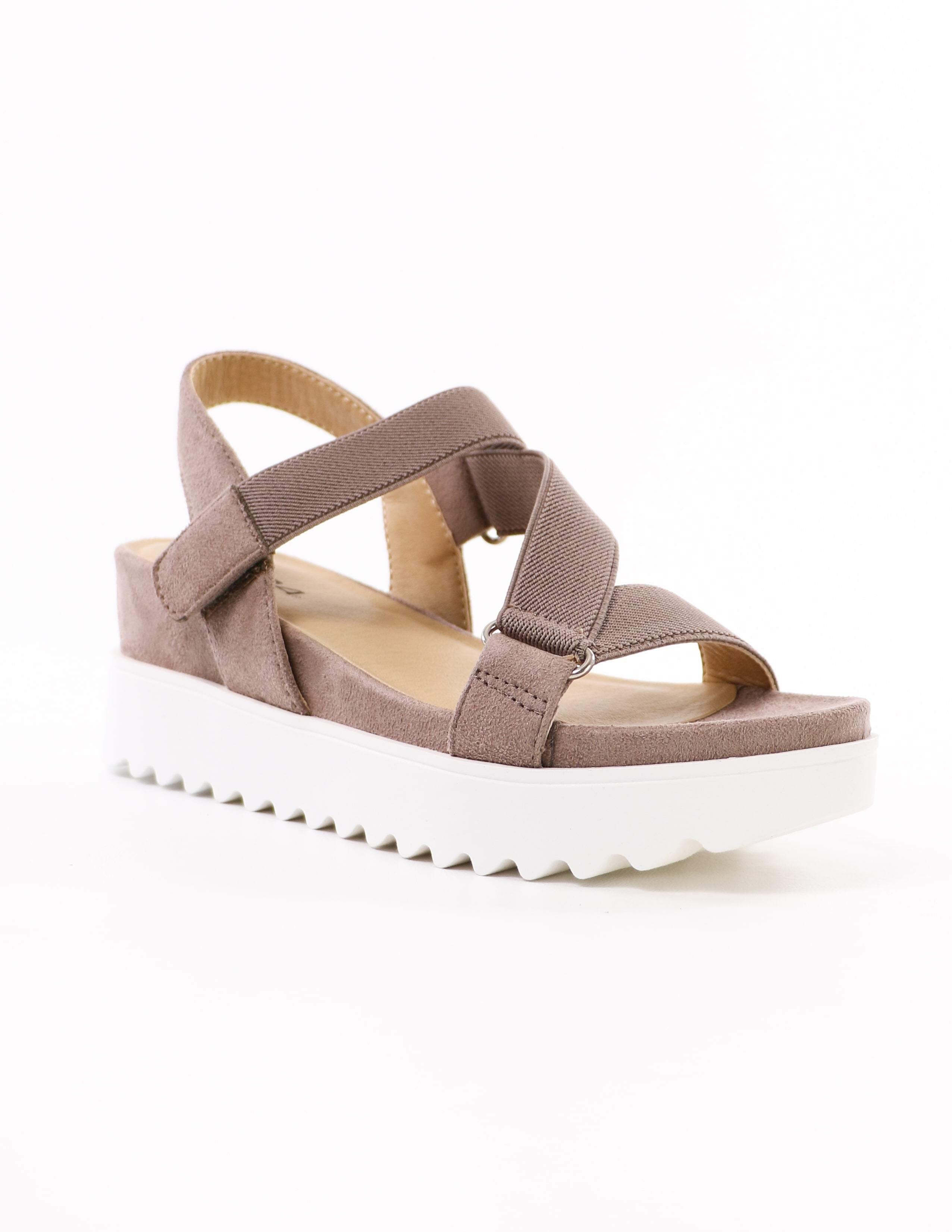 taupe strappy go lucky soda platform sandal with athletic straps and white chunky sole