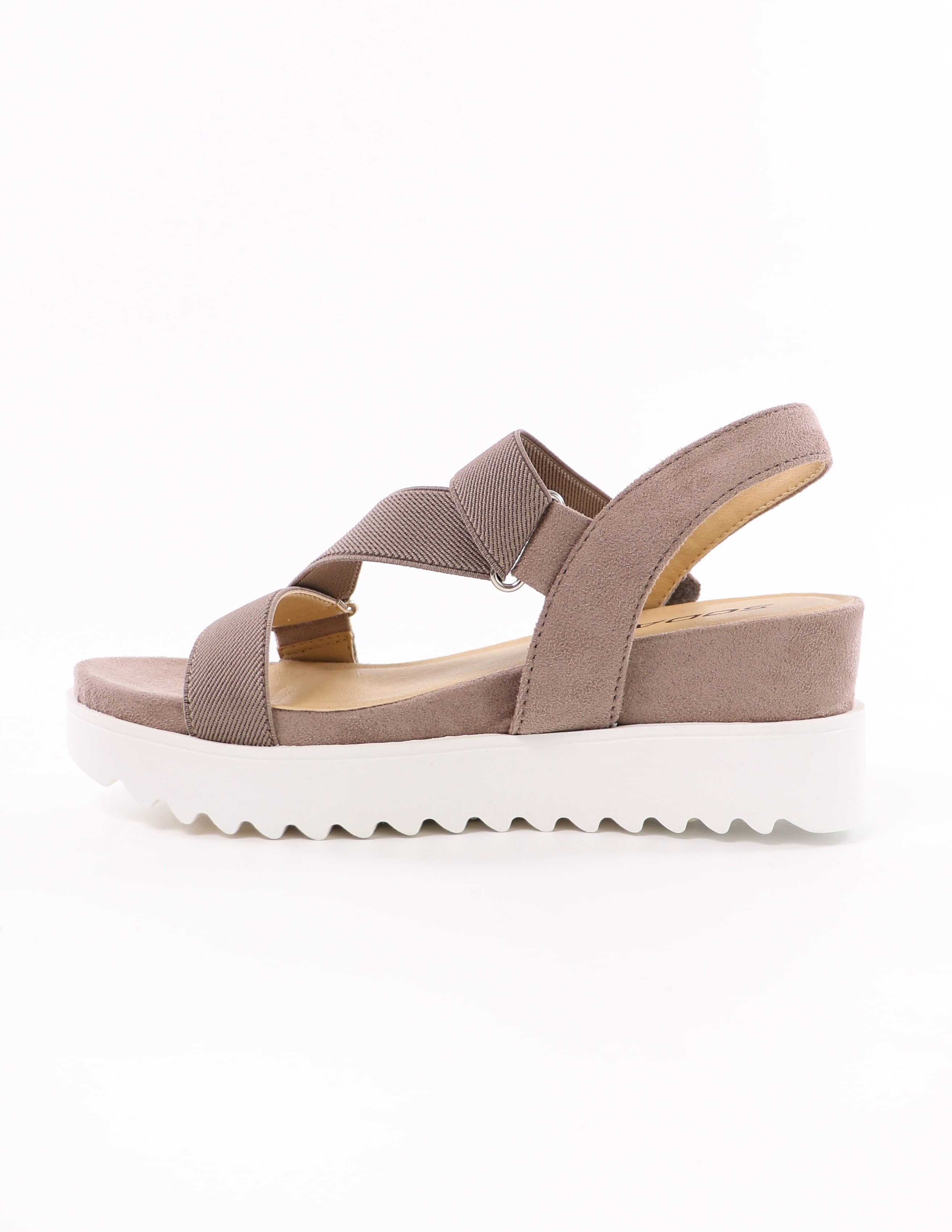 side of the taupe strappy go lucky sporty platform sandals with velcro strap and chunky white sole - elle bleu