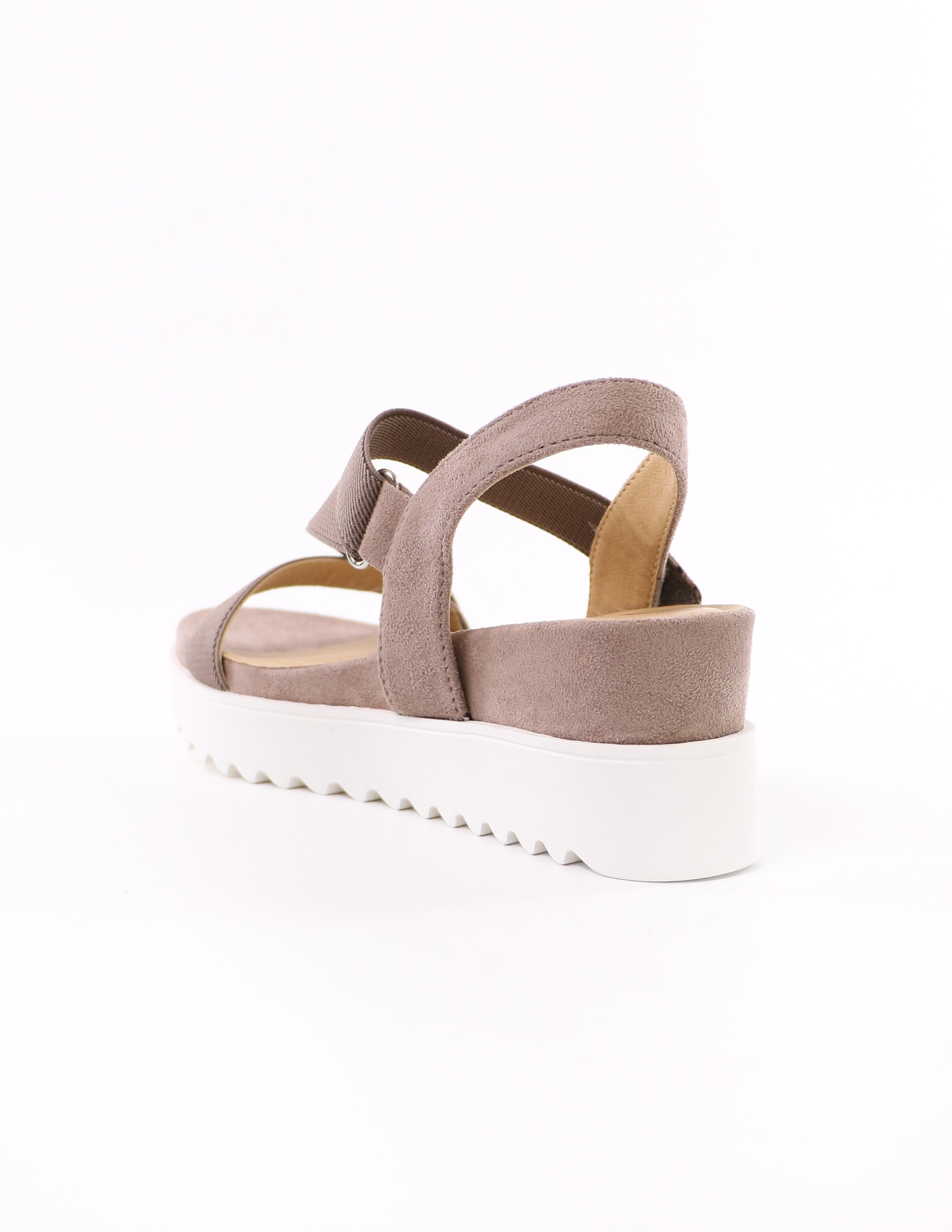 back of the taupe cubic soda strappy go lucky sandal with thick straps - elle bleu shoes