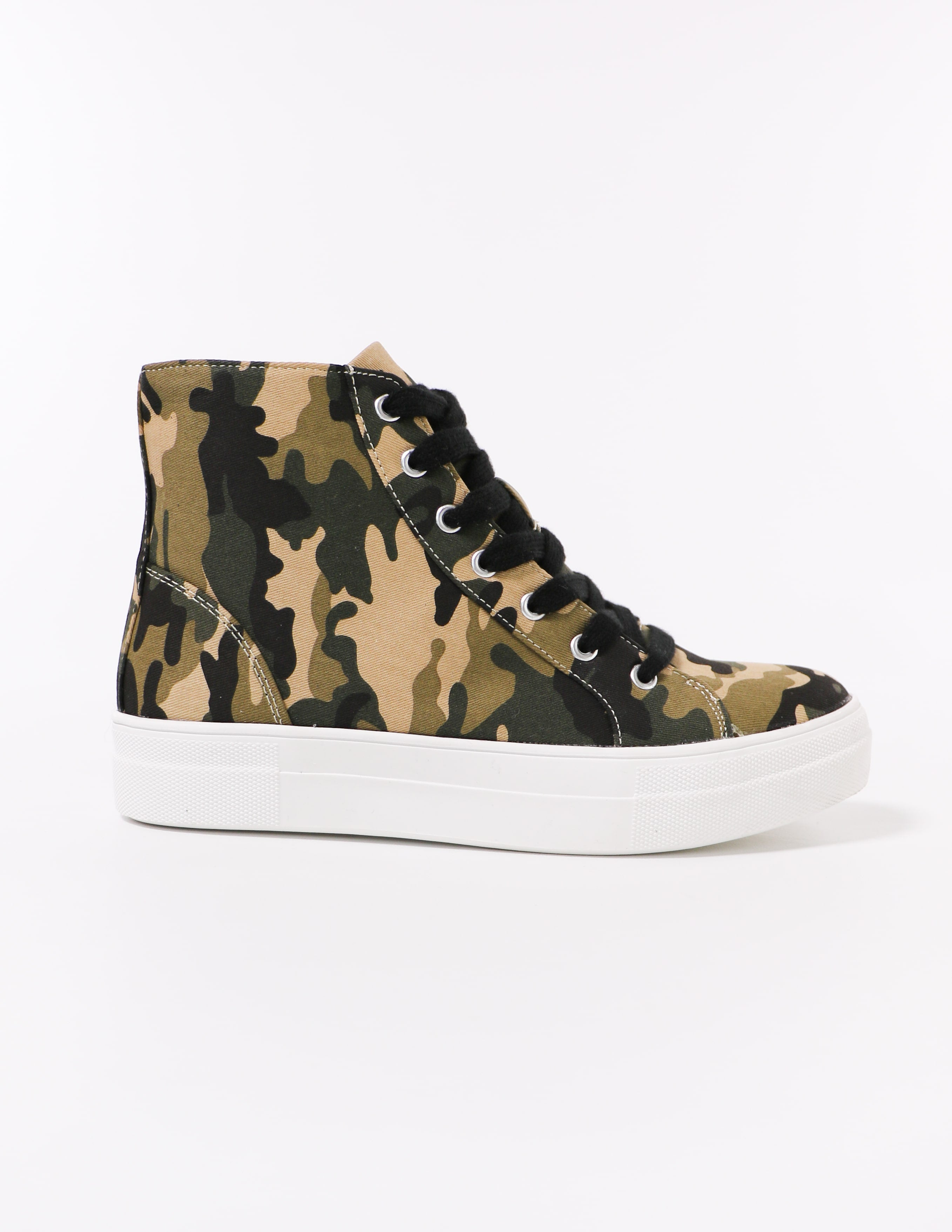 side of the camo to top it off high top sneaker - elle bleu shoes