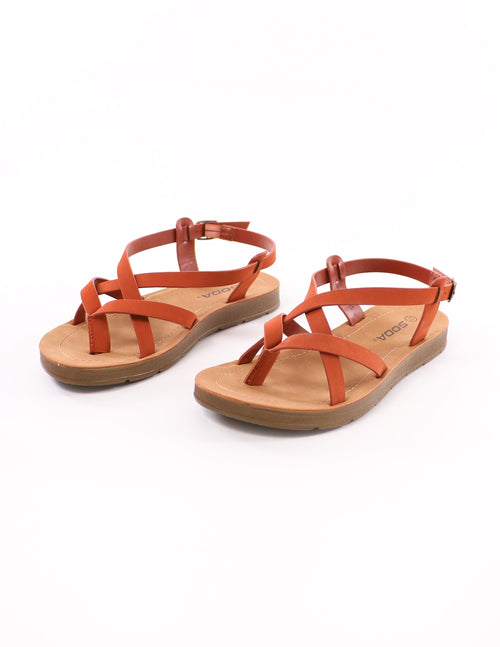 top of the rust watch it sandal with tan vegan leather insole on white background - elle bleu shoes