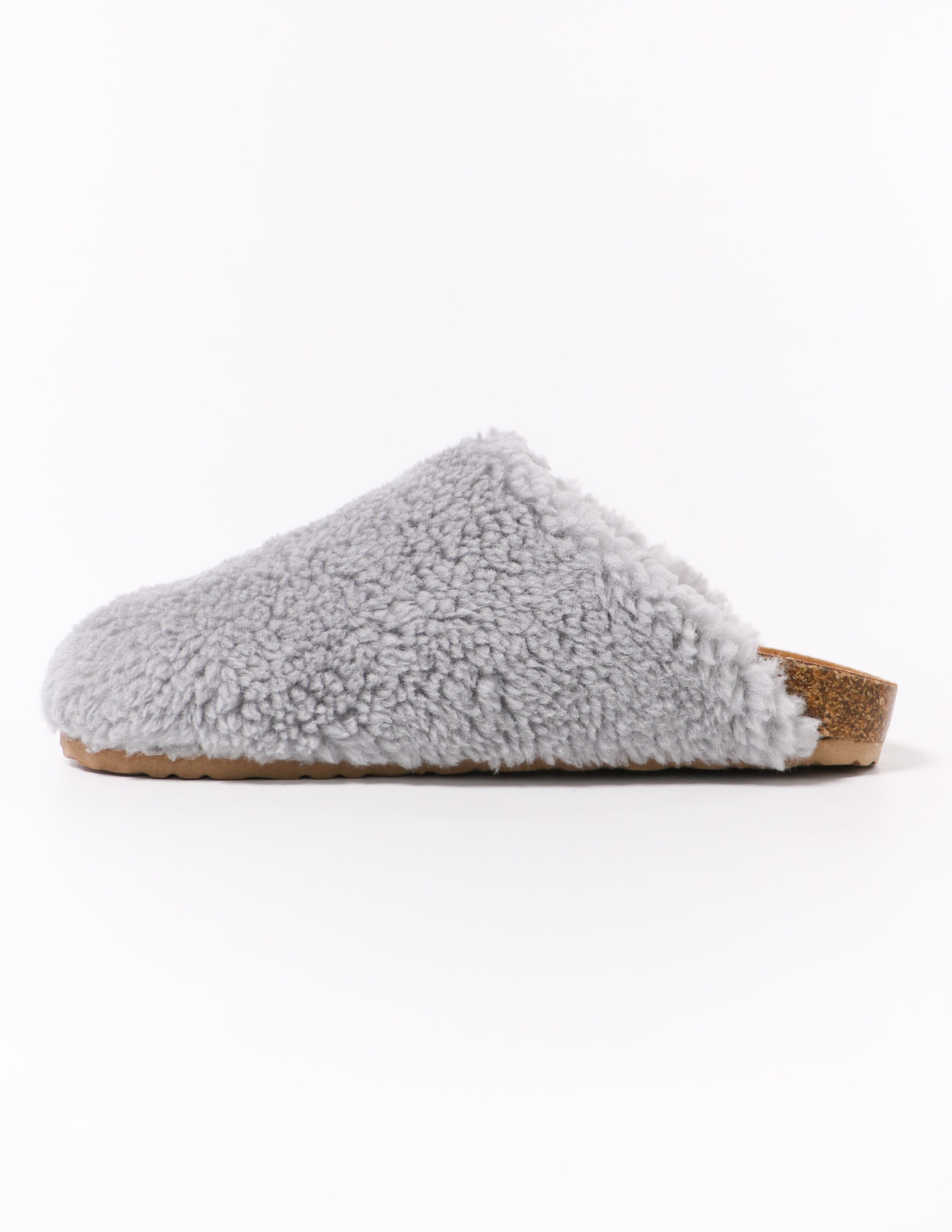 i'm teddy to go grey fuzzy slip on clog - elle bleu shoes