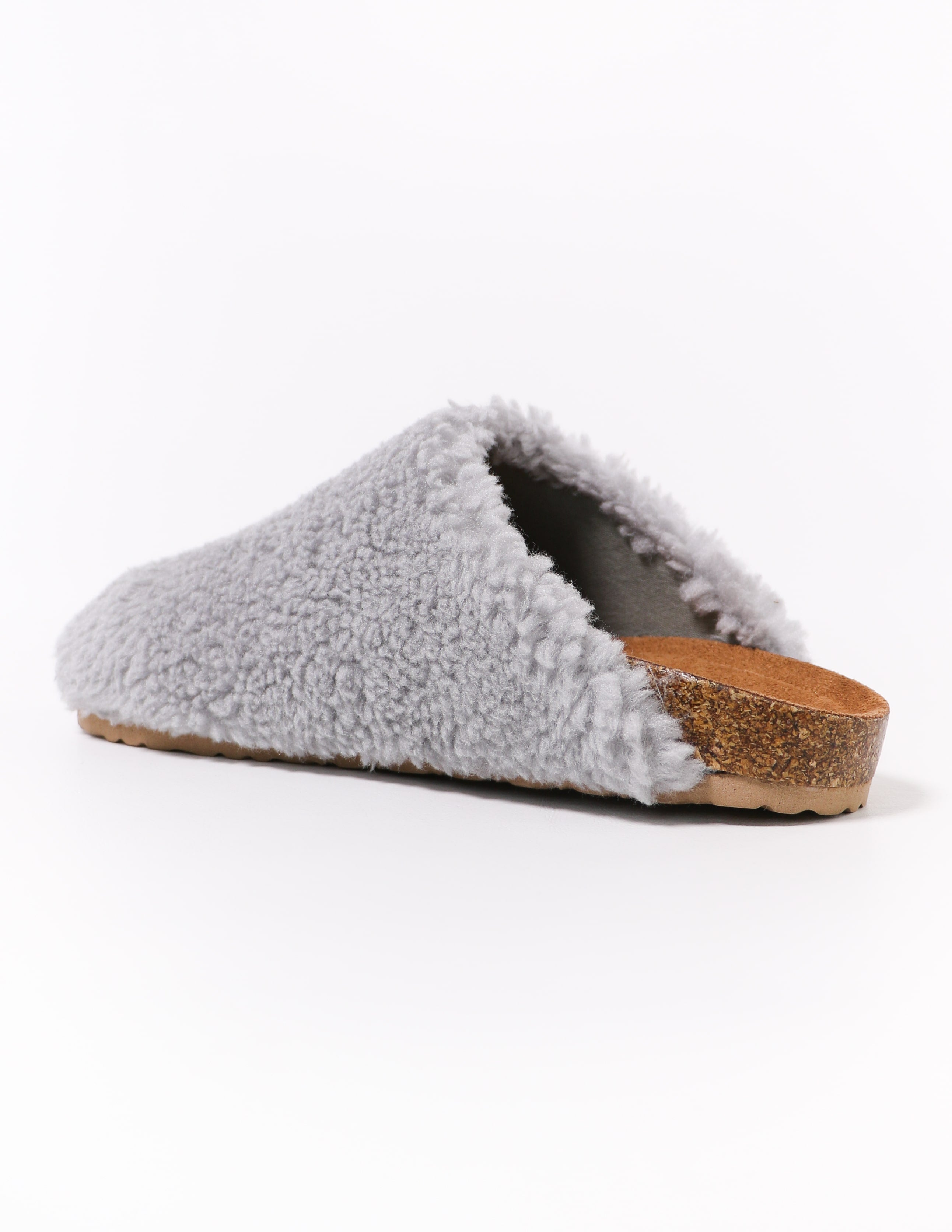 grey fuzzy i'm teddy to go clog - elle bleu shoes