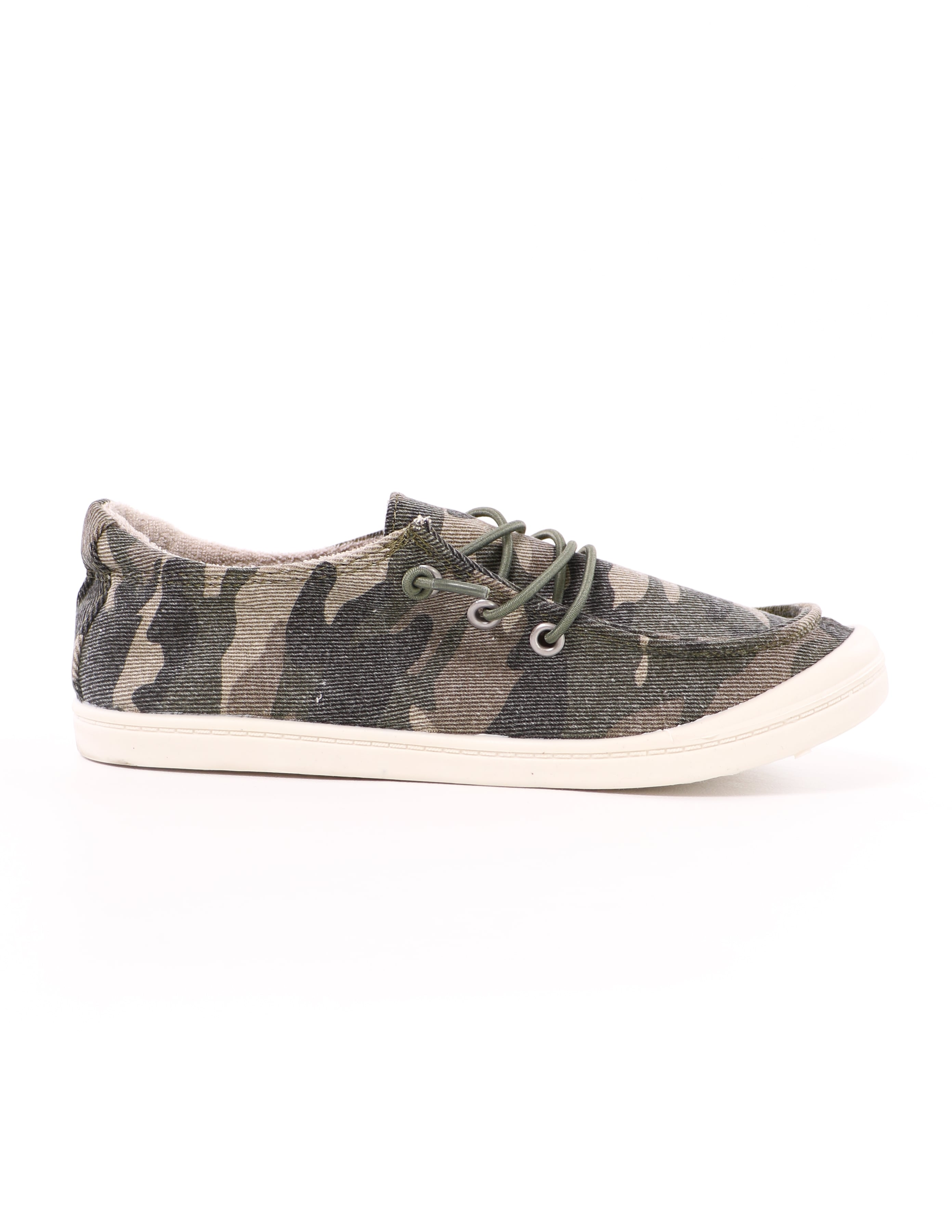side of the camo thinkin' boat you slip on sneaker with white rubber sole - elle bleu shoes