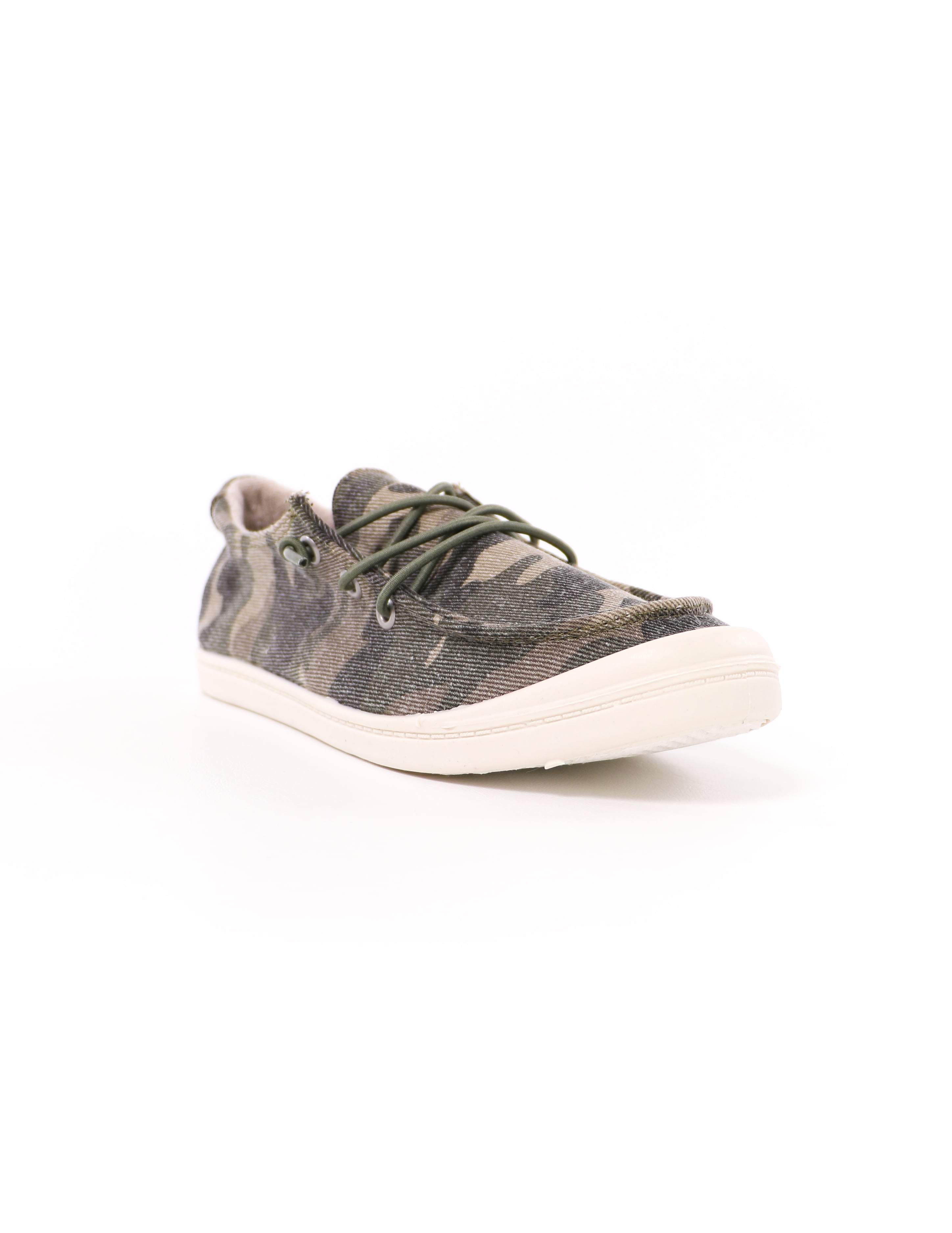 front of the white rubber sole camo thinkin' boat you sneaker shoe - elle bleu shoes