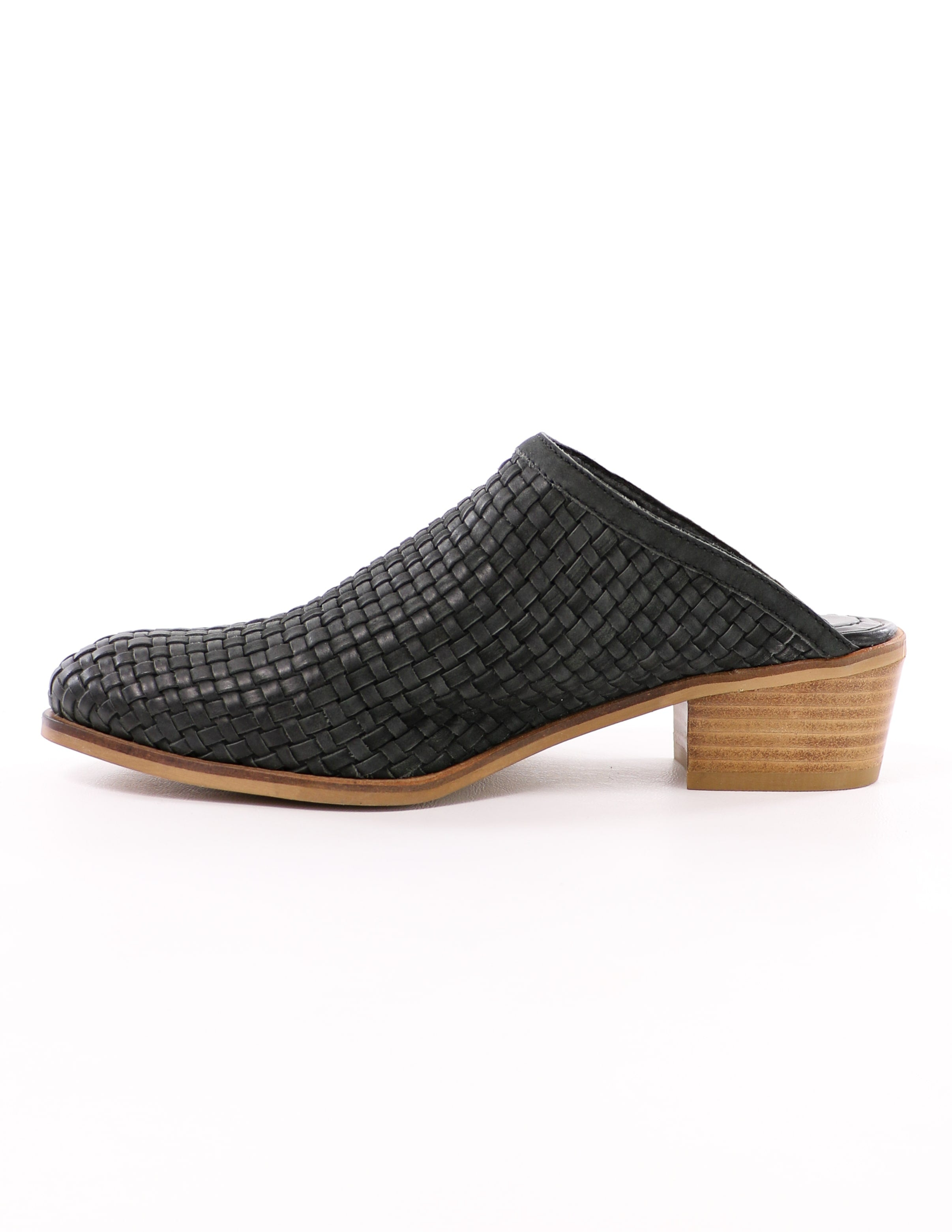 side of the black volatile the woven one mule with tan wood sole and heel - elle bleu shoes