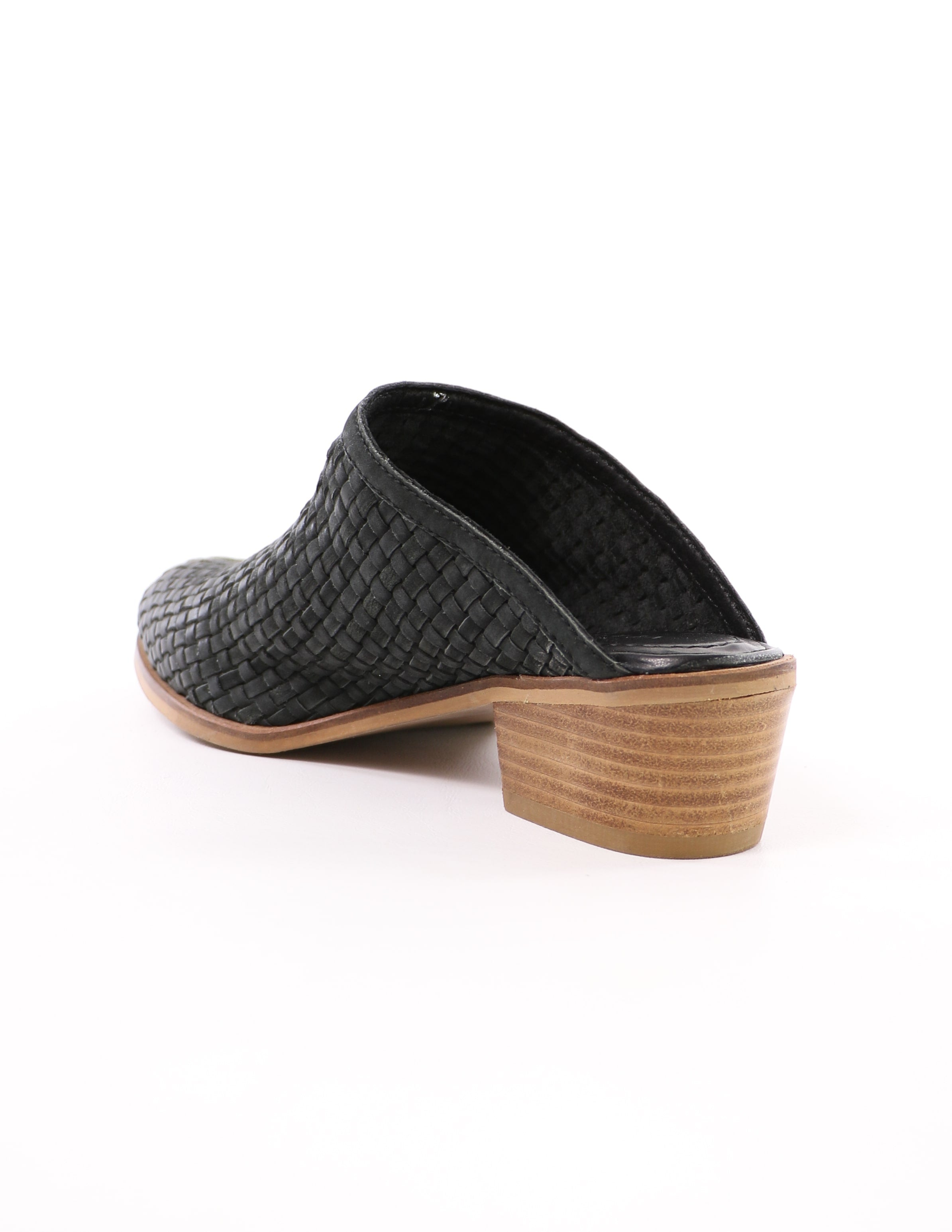 back of the volatile the woven one black mule with stacked wood block heel on white background - elle bleu shoes