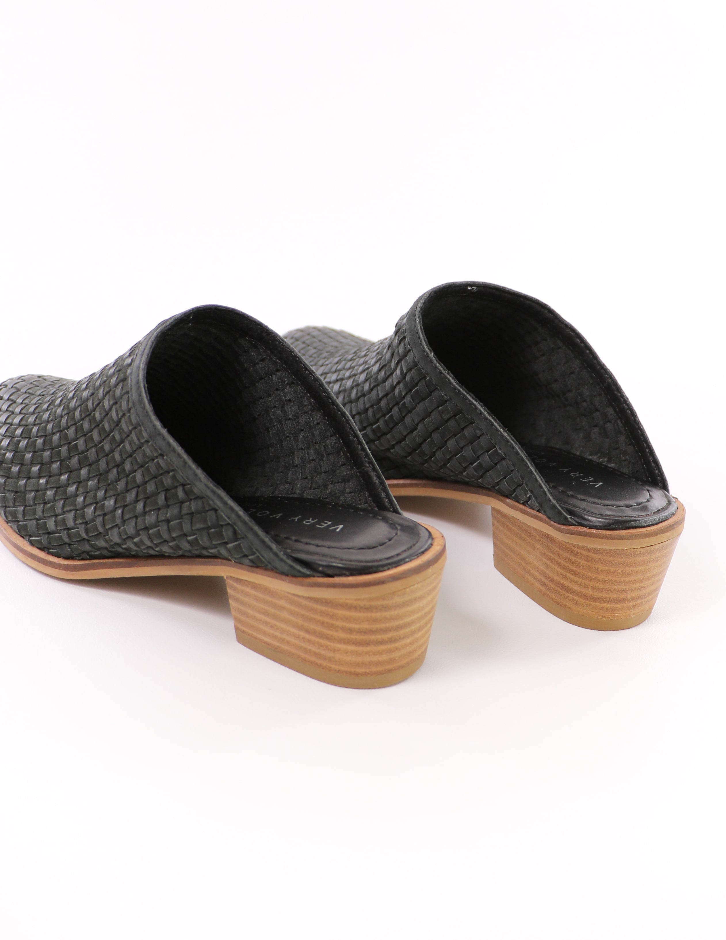 black volatile the woven one mule with genuine leather insole - elle bleu shoes