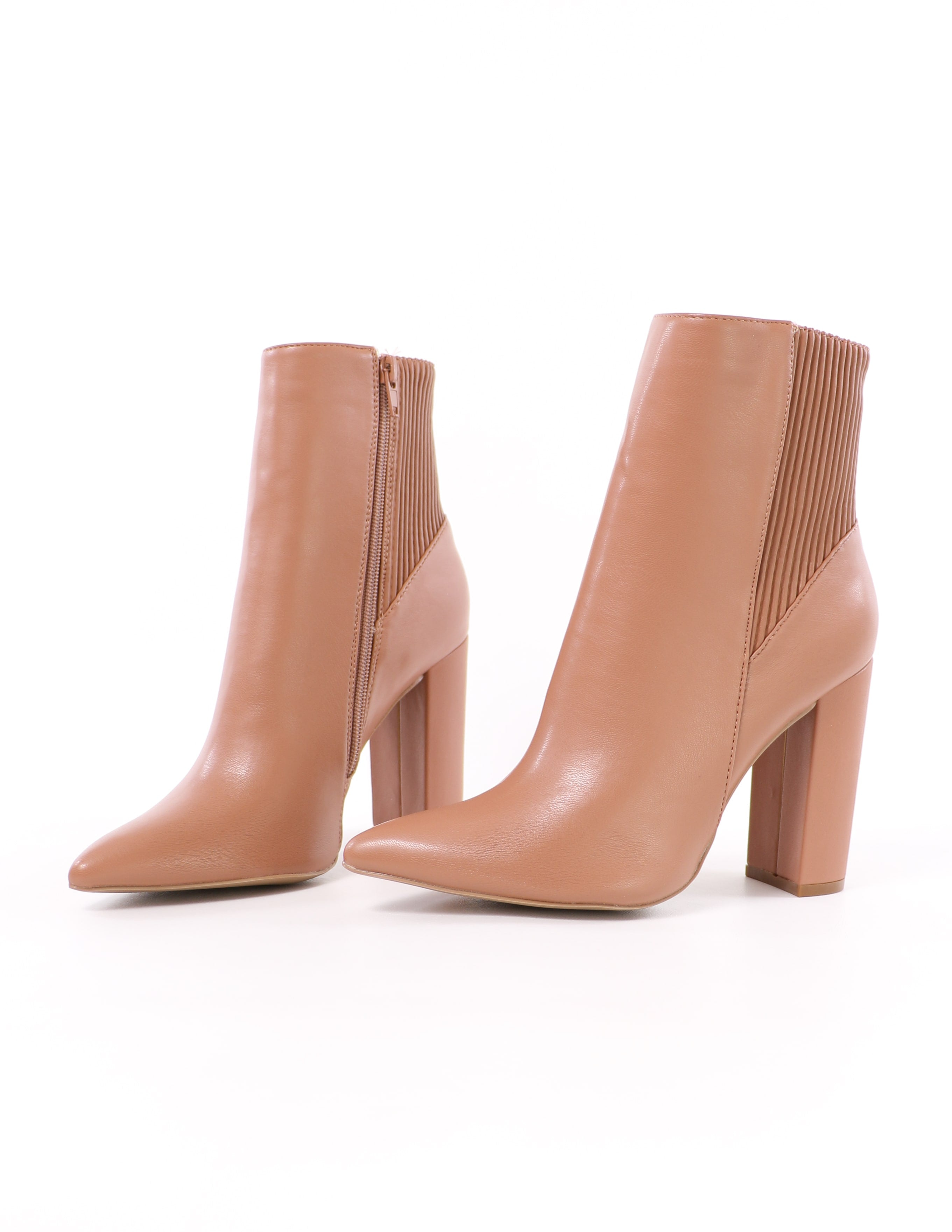 we're going out tonight mocha ribbed pointed toe ankle booties on white background - elle bleu shoes