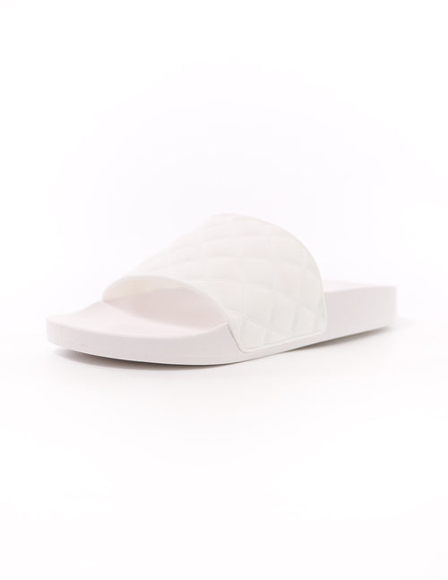 white quilt foolin' around pool slide with rubber sole - elle bleu shoes