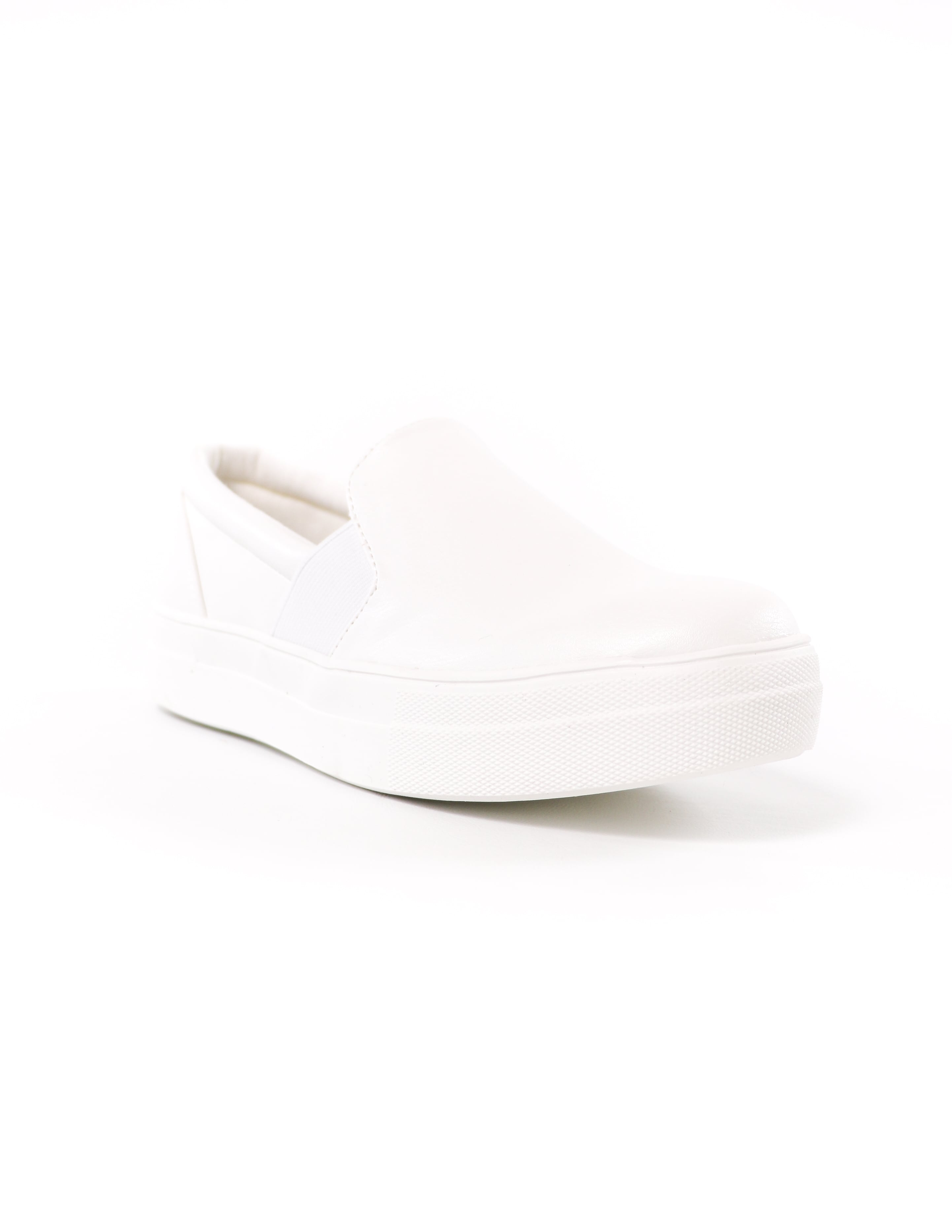 front of the white rubber sole kickin' it sole-o slip on sneaker - elle bleu shoes