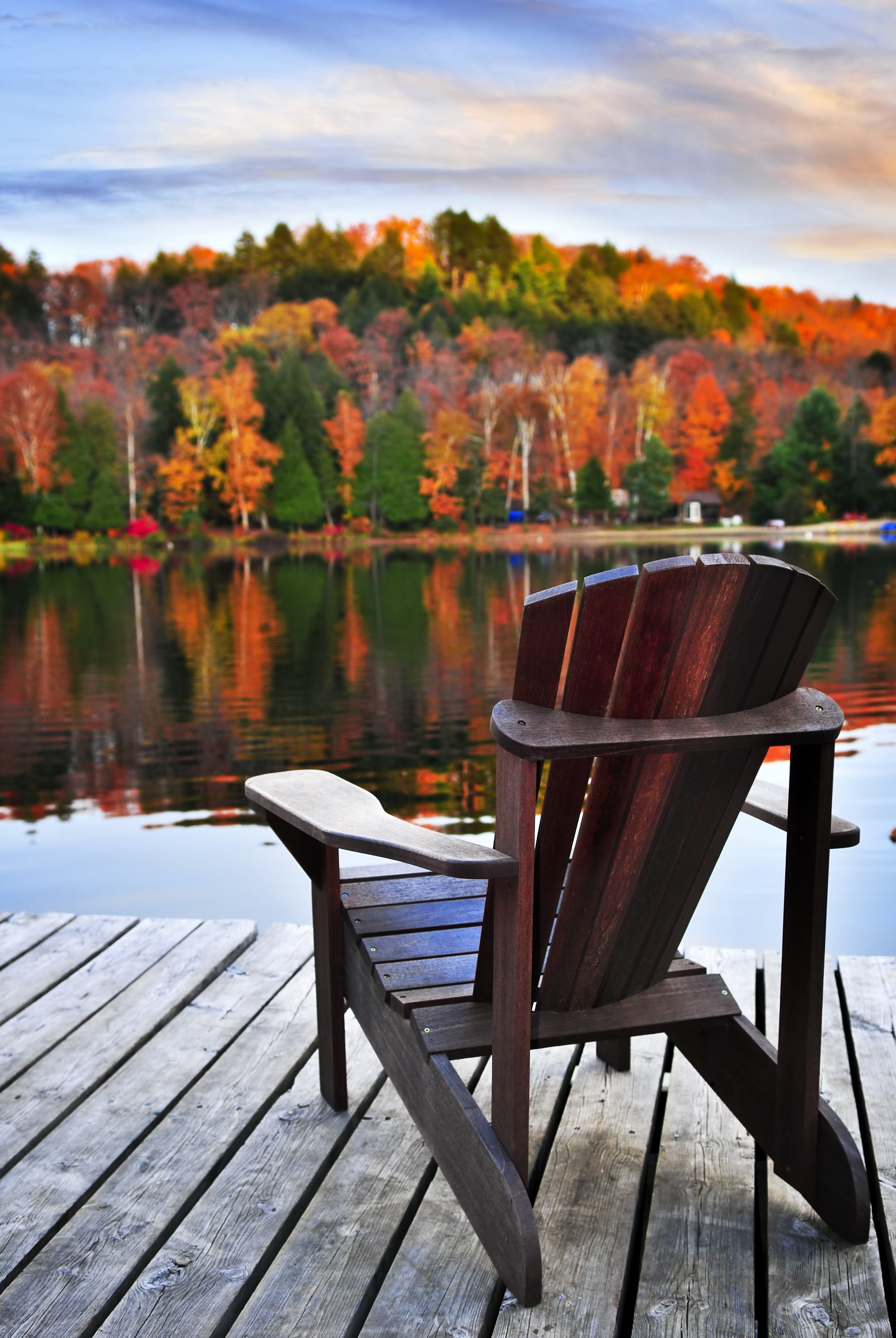 """Autumn Chair On Dock""  PHOTO CHALKBOARD  Includes Chalkboard, Chalk Marker & Stand"