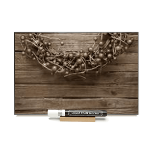 """Sepia Cranberry Wreath""  PHOTO CHALKBOARD  Includes Chalkboard, Chalk Marker & Stand"