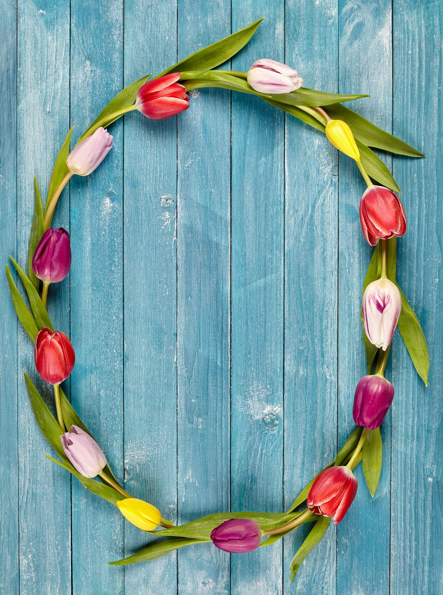 """Easter Tulip Wreath"" PHOTO CHALKBOARD Includes Chalkboard, Chalk Marker and Stand"