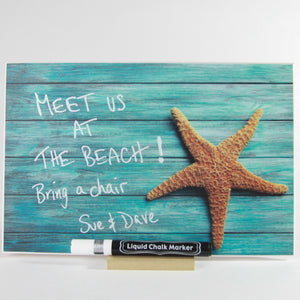 """Turquoise Starfish"" PHOTO CHALKBOARD Includes Chalkboard, Chalk Marker and Stand"