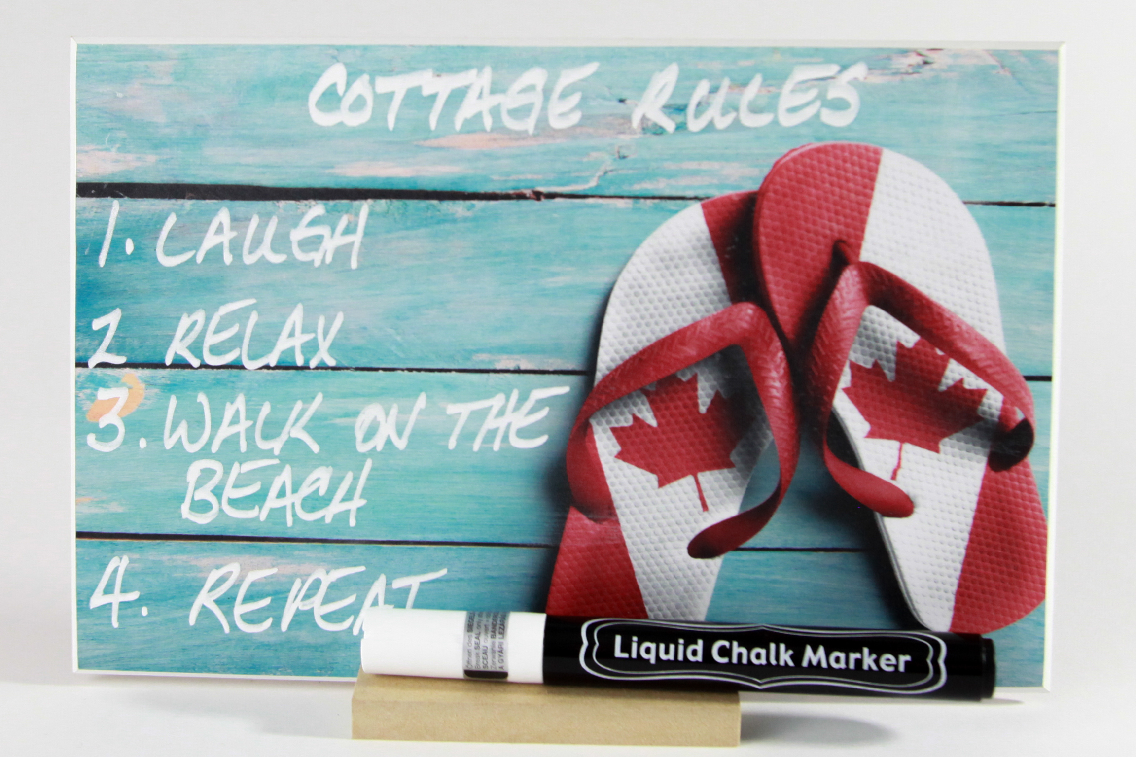 """Canadian Flip Flops"" PHOTO CHALKBOARDS Includes Chalkboard, Chalk Marker and Stand"