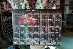 """Peonies"" Calendar PHOTO  CHALKBOARD Includes Chalkboard, Chalk Marker and Stand"