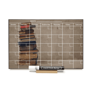 """Old Books"" Calendar PHOTO  CHALKBOARD Includes Chalkboard, Chalk Marker and Stand"