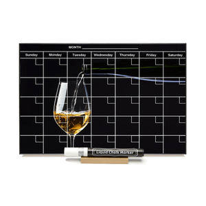 """White Wine Glass"" Calendar PHOTO  CHALKBOARD Includes Chalkboard, Chalk Marker and Stand"