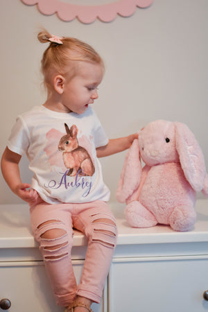 Personalized Girl Bunny Short/Long/Hooded Tee