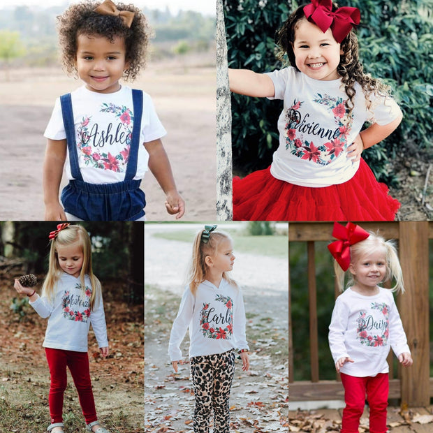 Personalized Christmas Floral Kids
