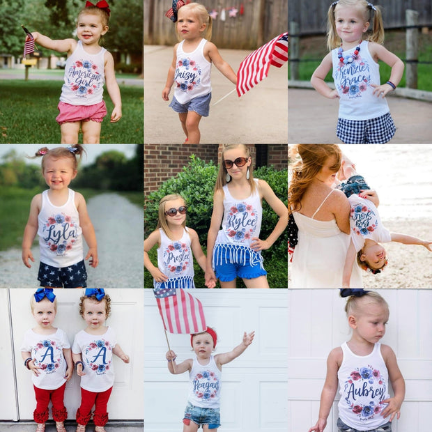 Red and Blue Personalized Floral Kids