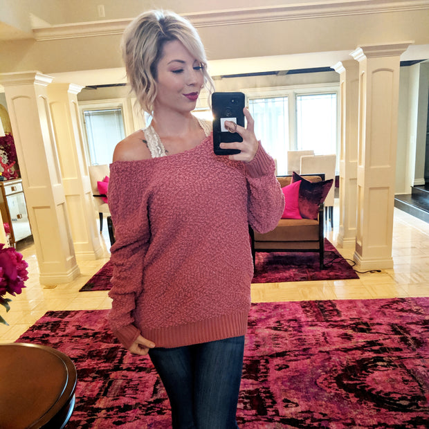 Rose Twisted Back Sweater