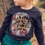 Merry and Bright Floral Wreath Kids