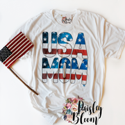 USA MOM Flag Vintage Watercolor Adult