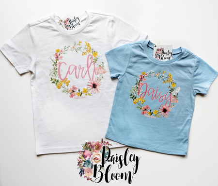 Personalized Pink Wildflower Kids