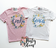 Personalized Blue Wildflower Kids