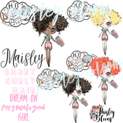 Dream On Personalized Girl Short Curly Hair Kids
