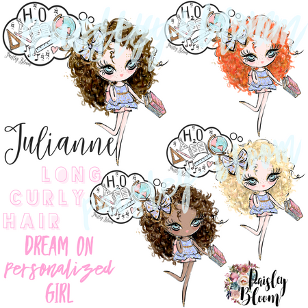 Dream On Personalized Girl Long Curly Hair Kids